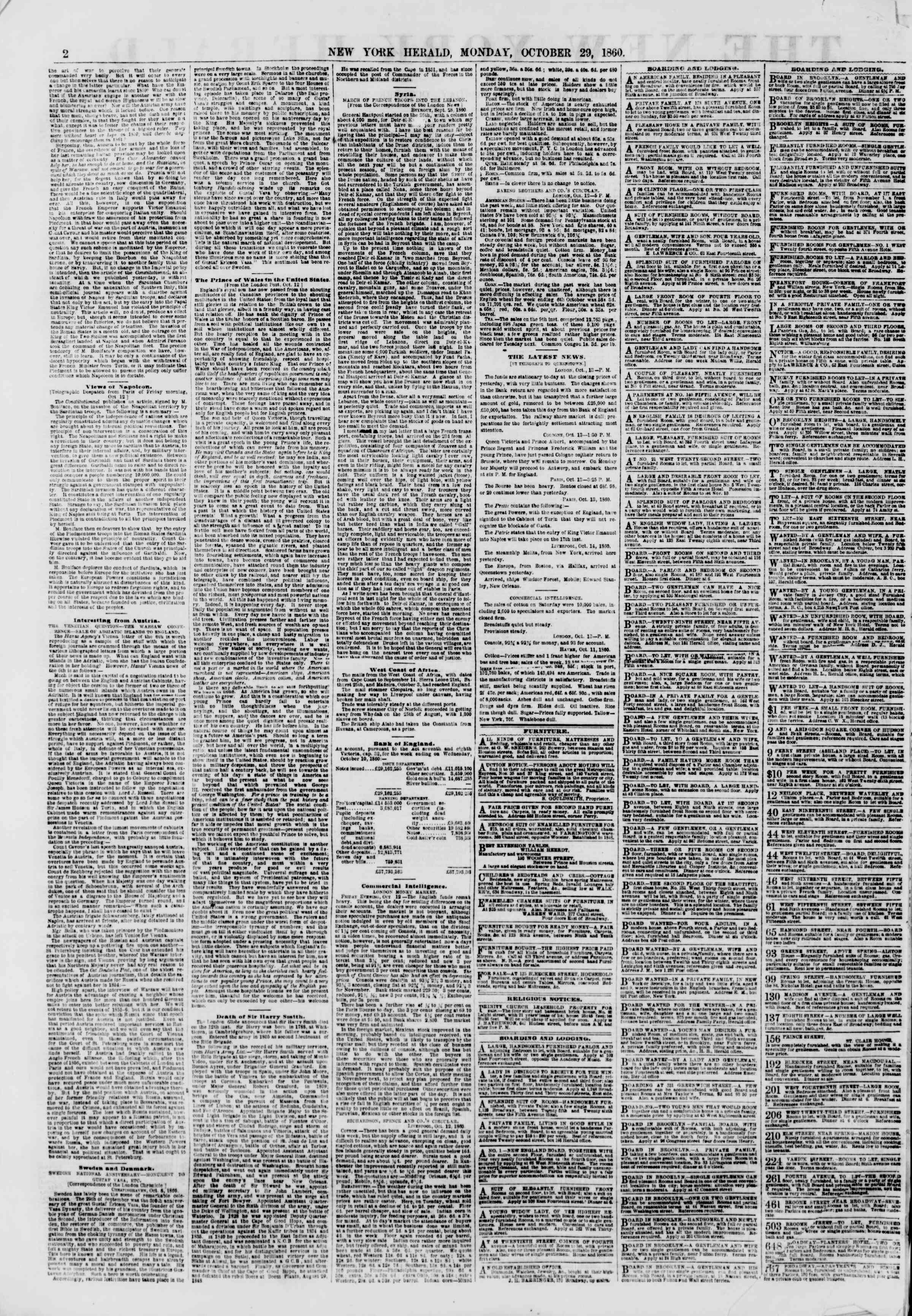 Newspaper of The New York Herald dated October 29, 1860 Page 2