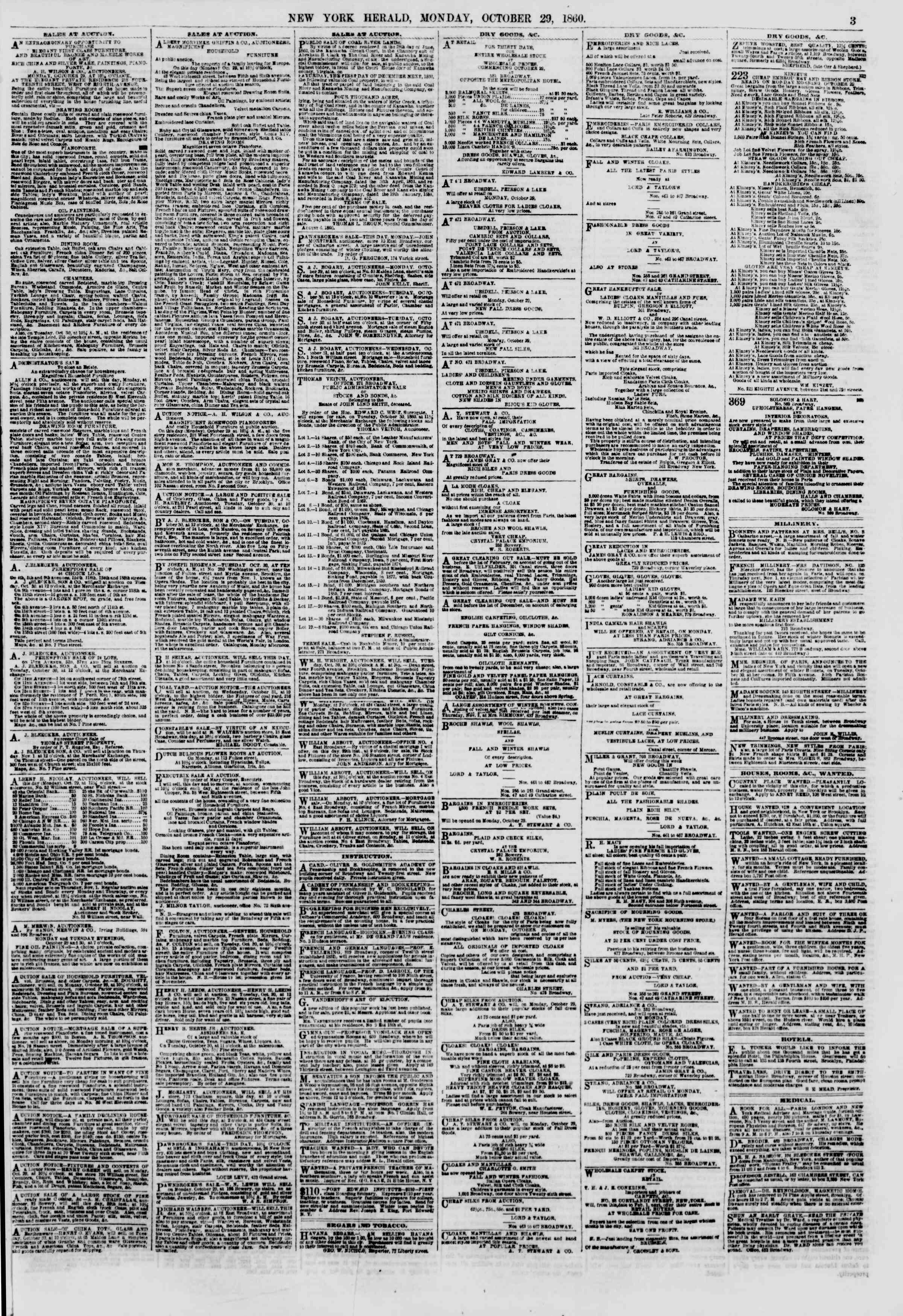 Newspaper of The New York Herald dated October 29, 1860 Page 3