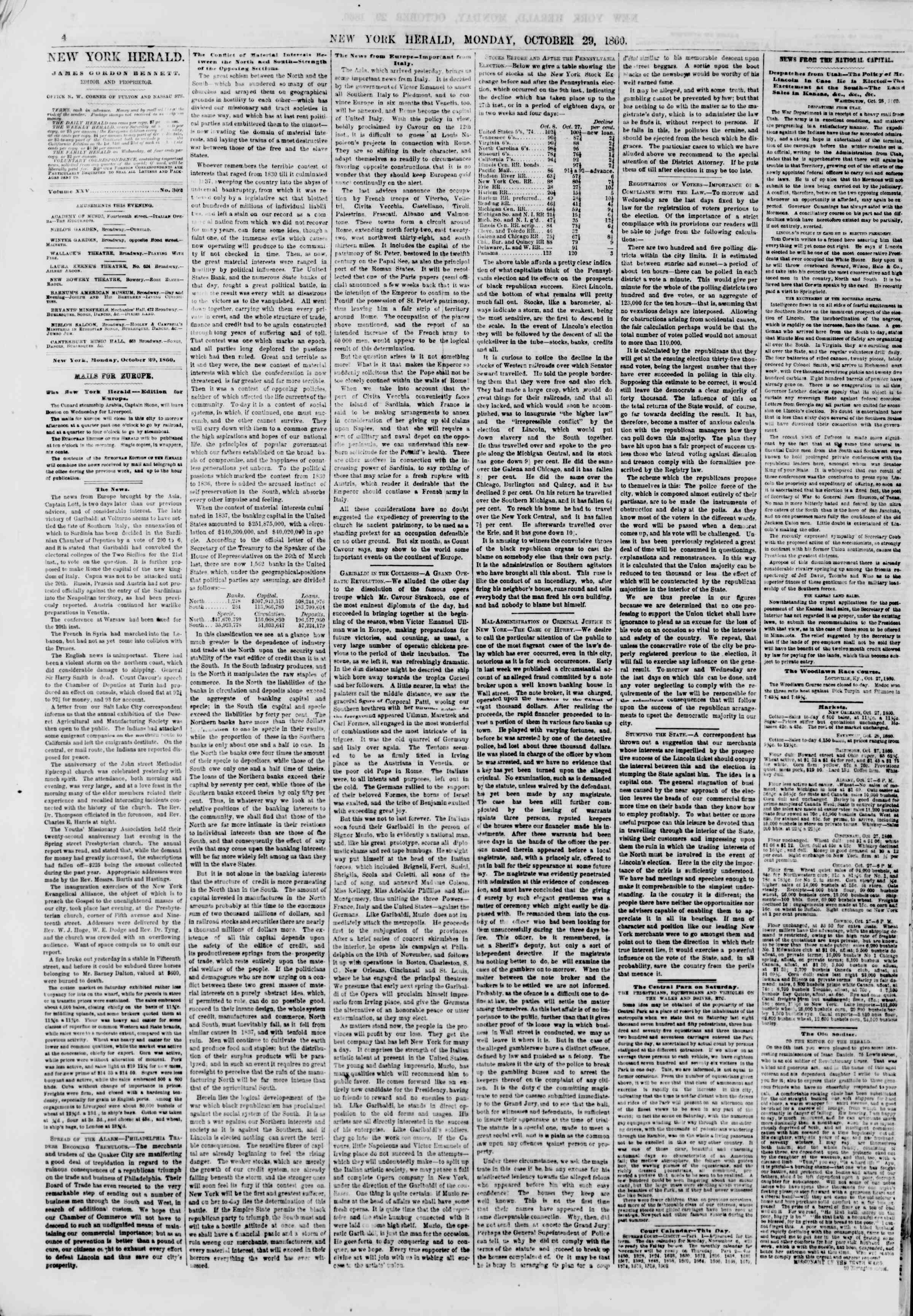 Newspaper of The New York Herald dated October 29, 1860 Page 4