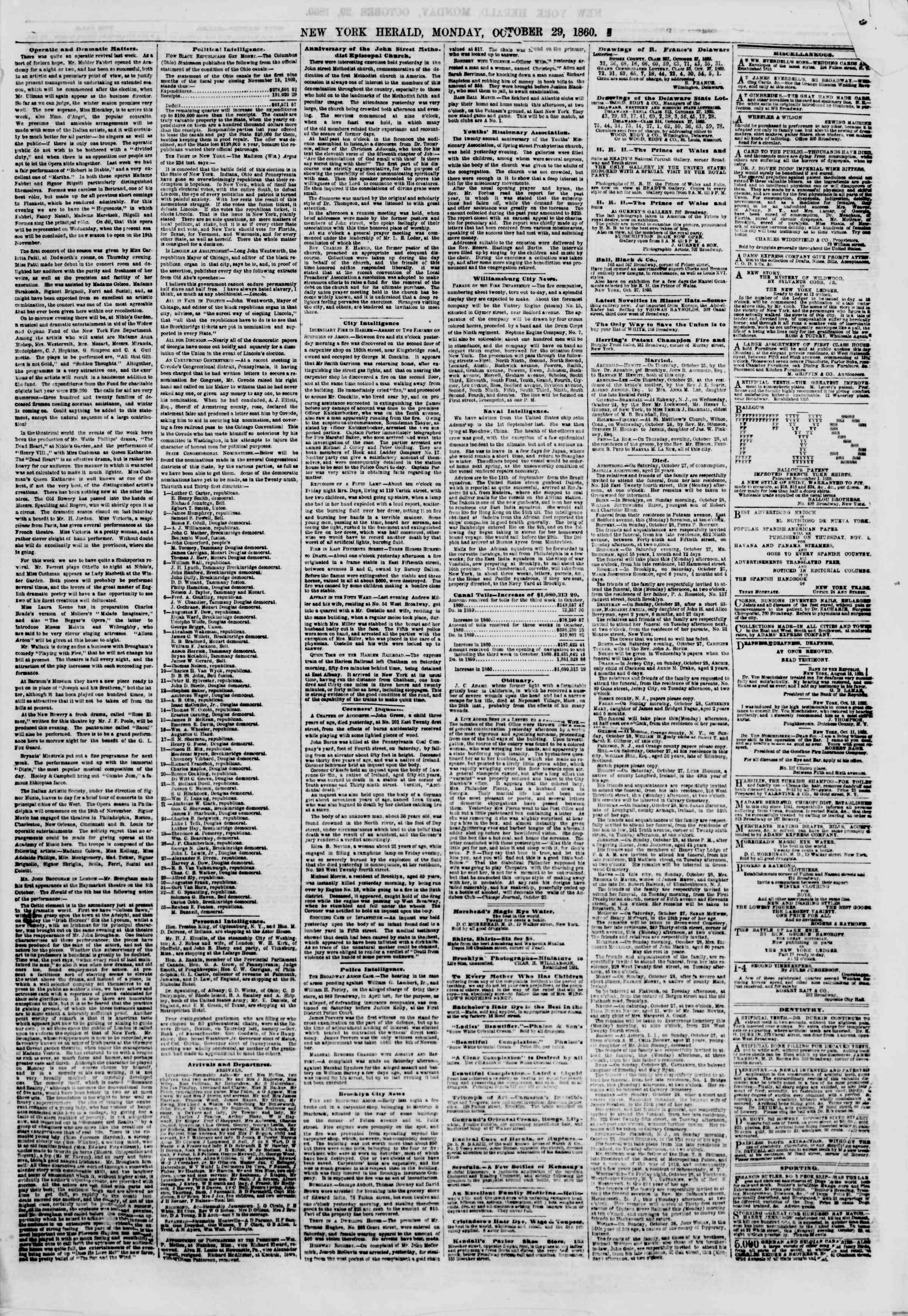 Newspaper of The New York Herald dated October 29, 1860 Page 5