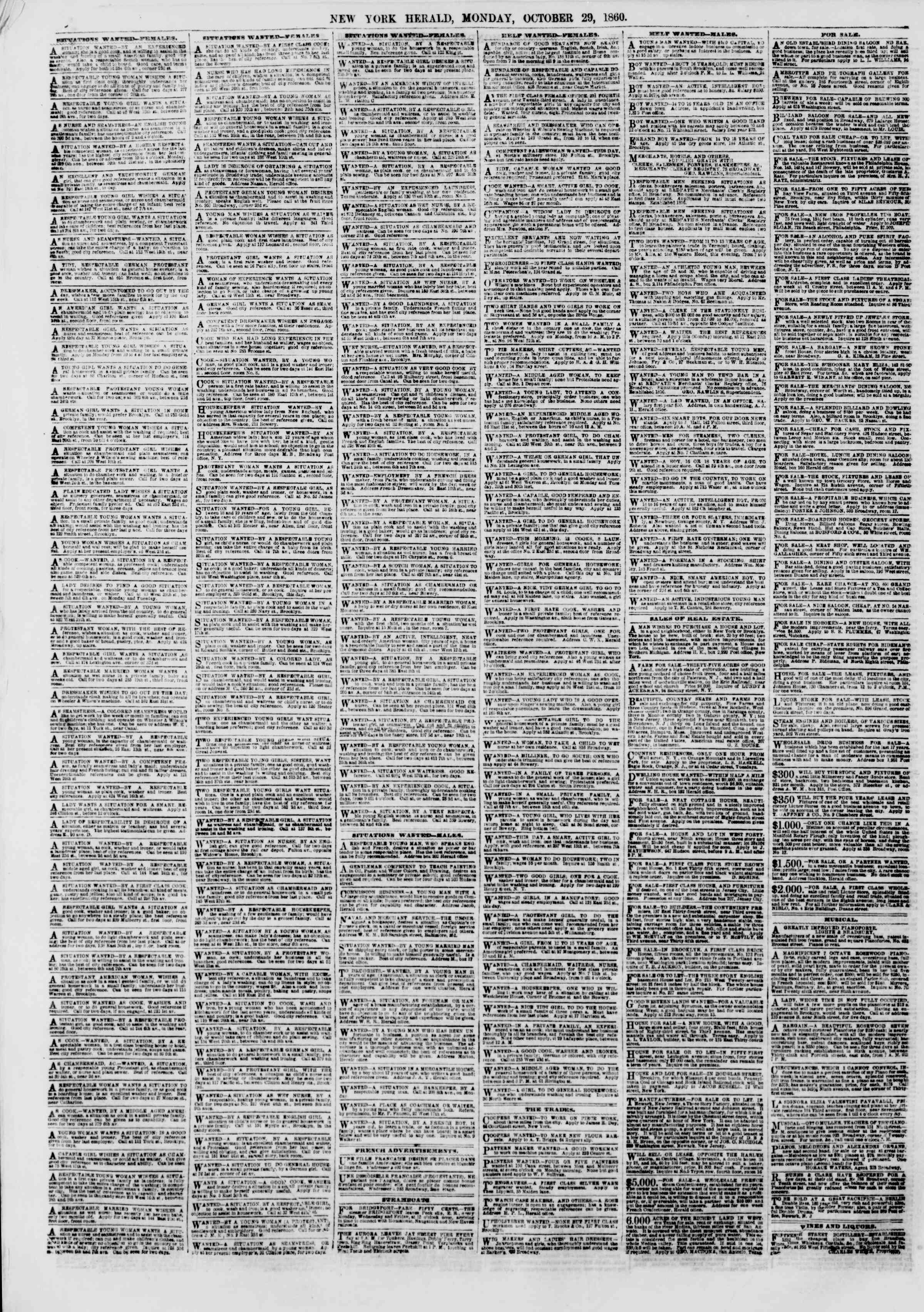Newspaper of The New York Herald dated October 29, 1860 Page 6