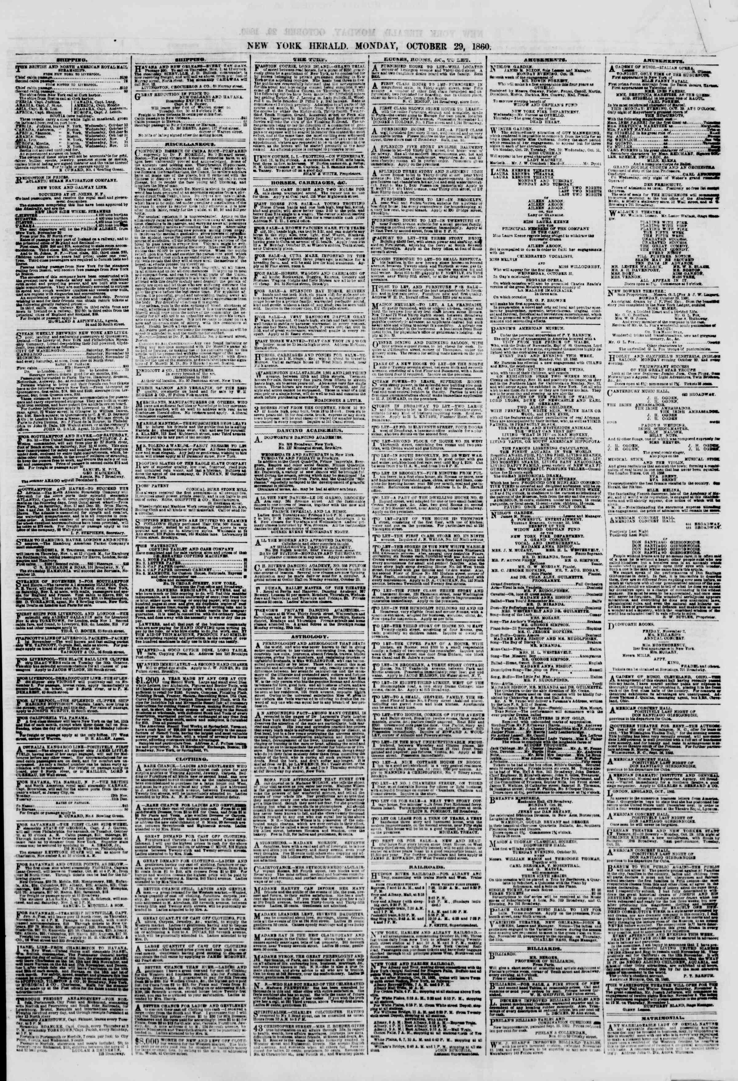 Newspaper of The New York Herald dated October 29, 1860 Page 7
