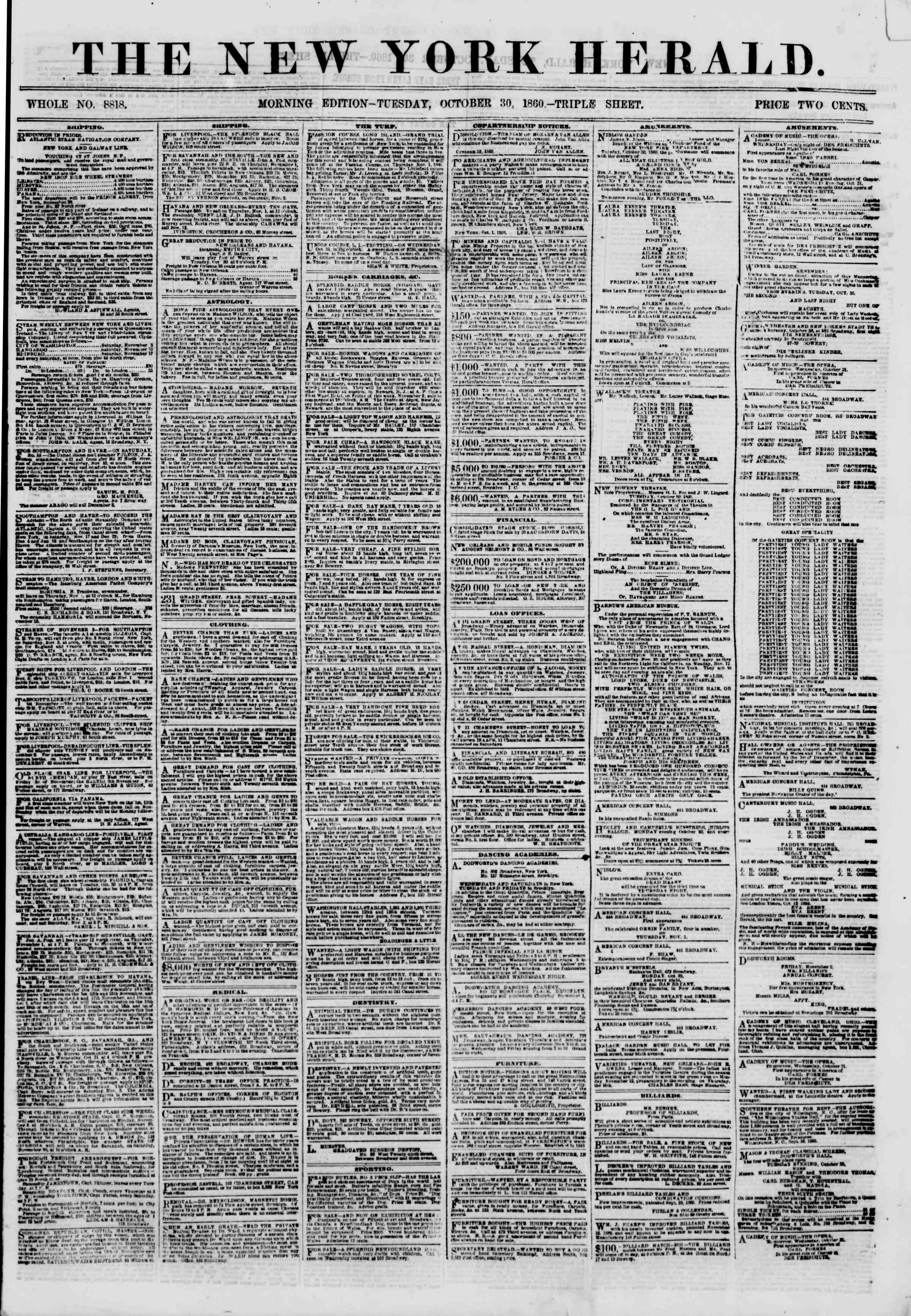 Newspaper of The New York Herald dated October 30, 1860 Page 1