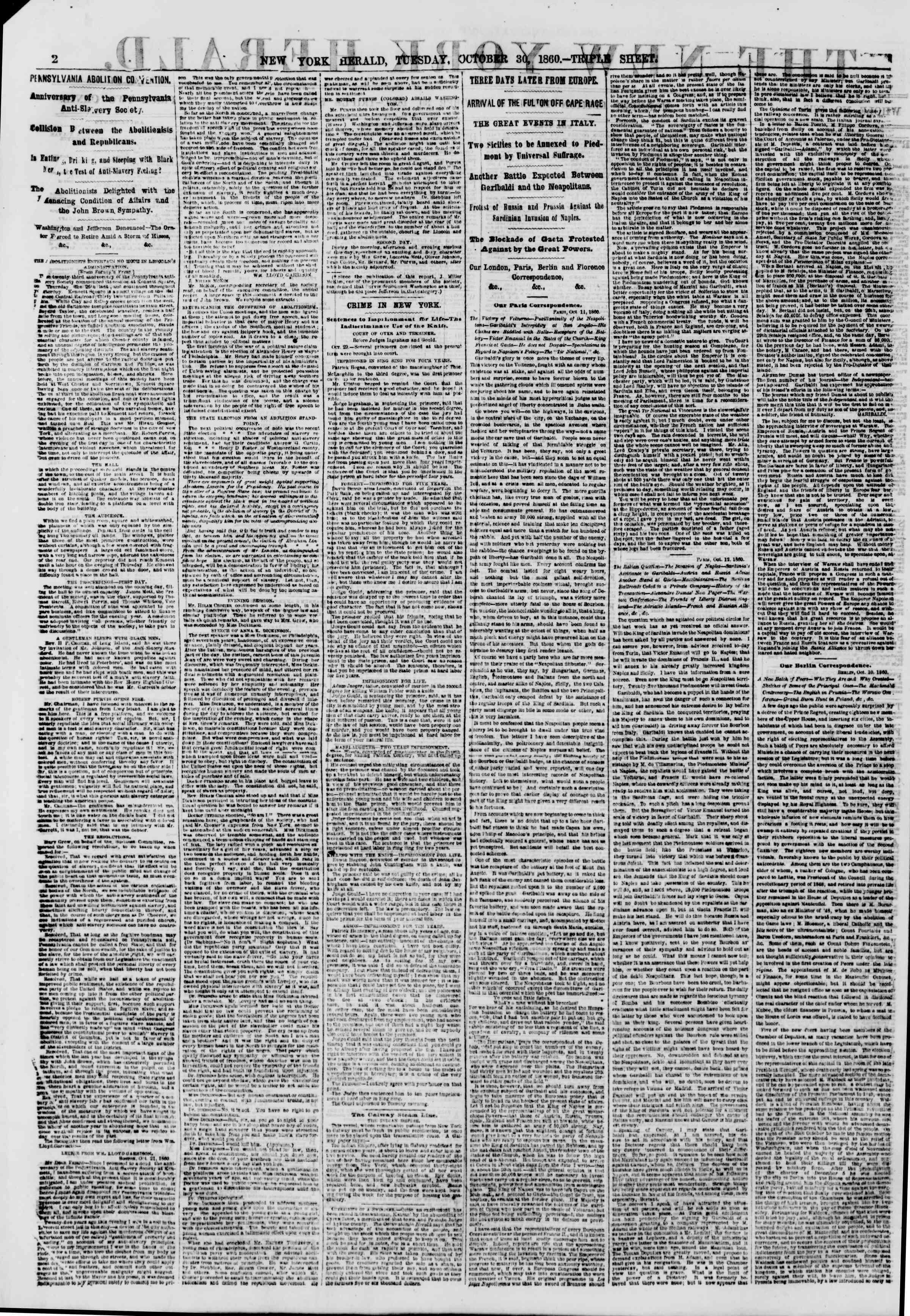 Newspaper of The New York Herald dated October 30, 1860 Page 2