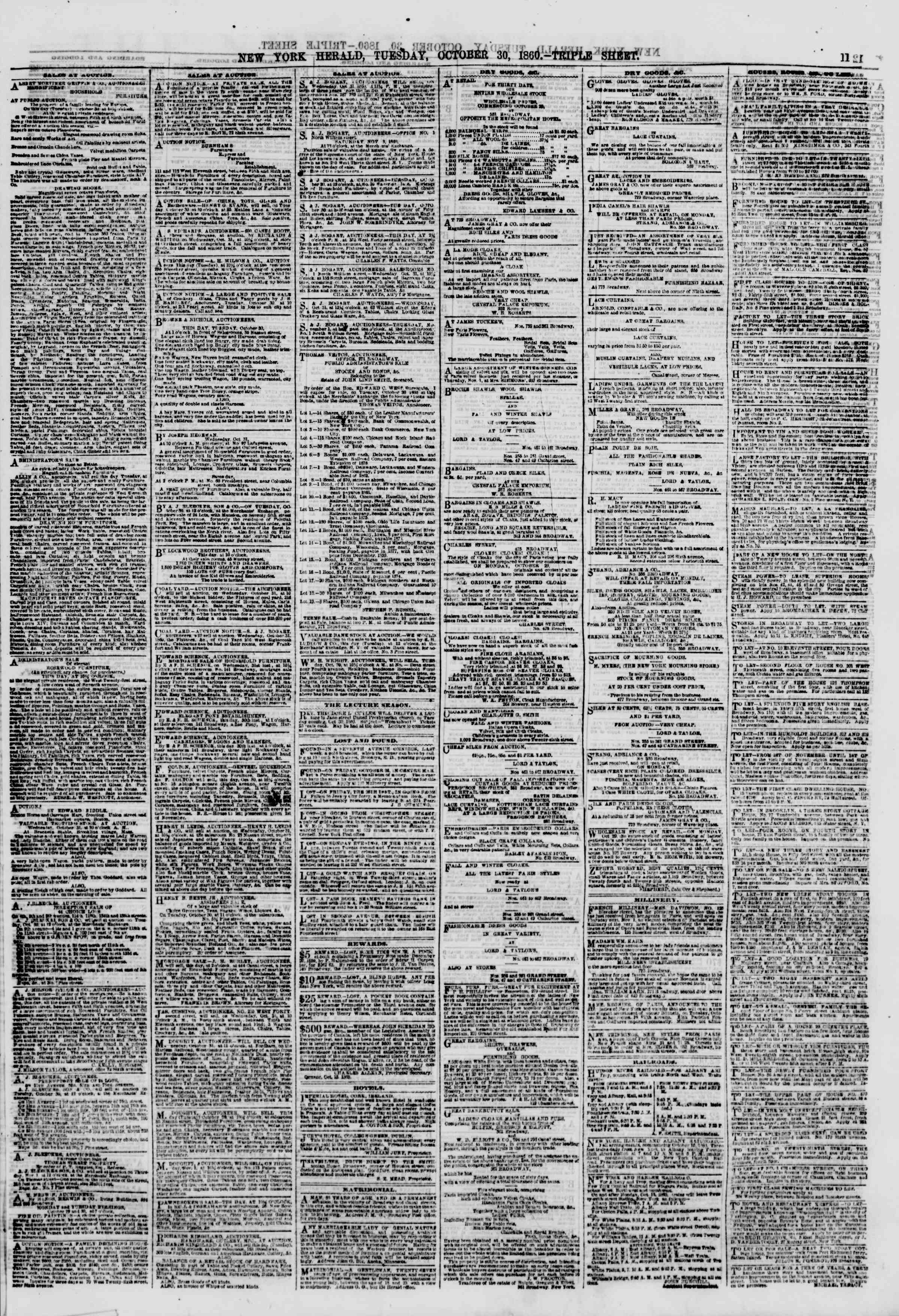 Newspaper of The New York Herald dated October 30, 1860 Page 11