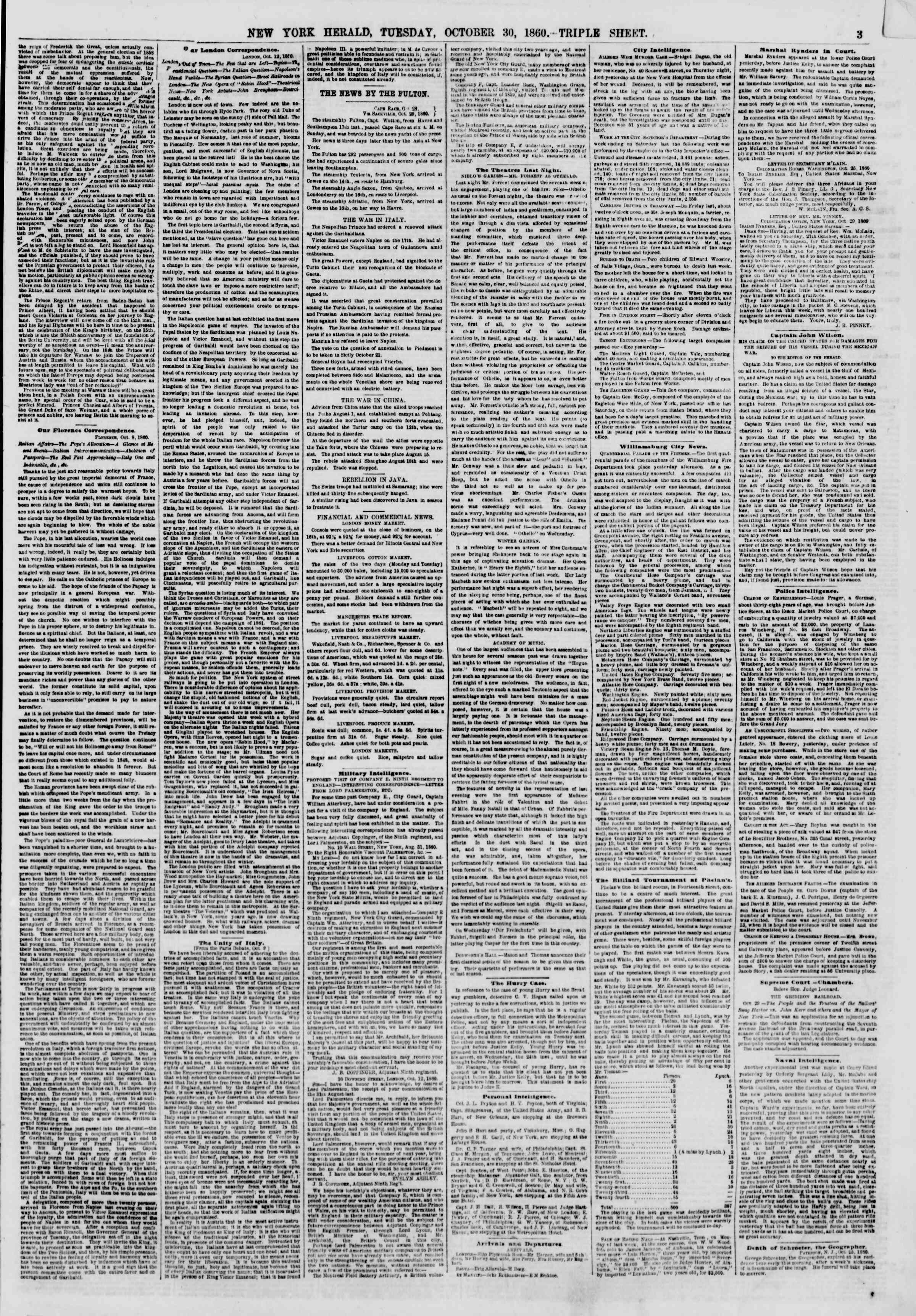 Newspaper of The New York Herald dated October 30, 1860 Page 3