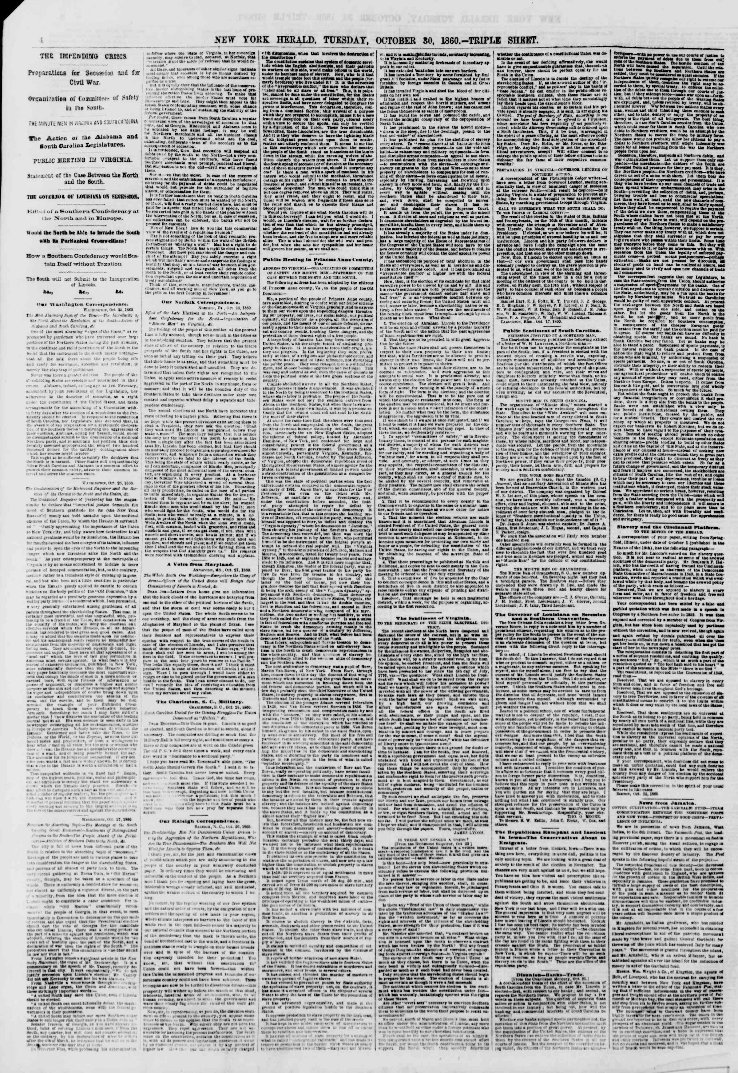 Newspaper of The New York Herald dated October 30, 1860 Page 4