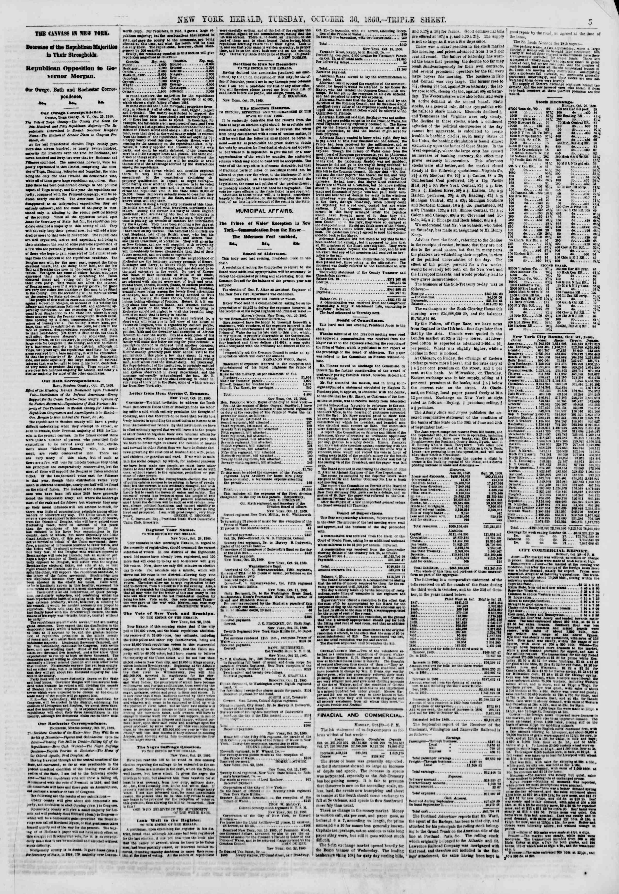 30 Ekim 1860 tarihli The New York Herald Gazetesi Sayfa 5