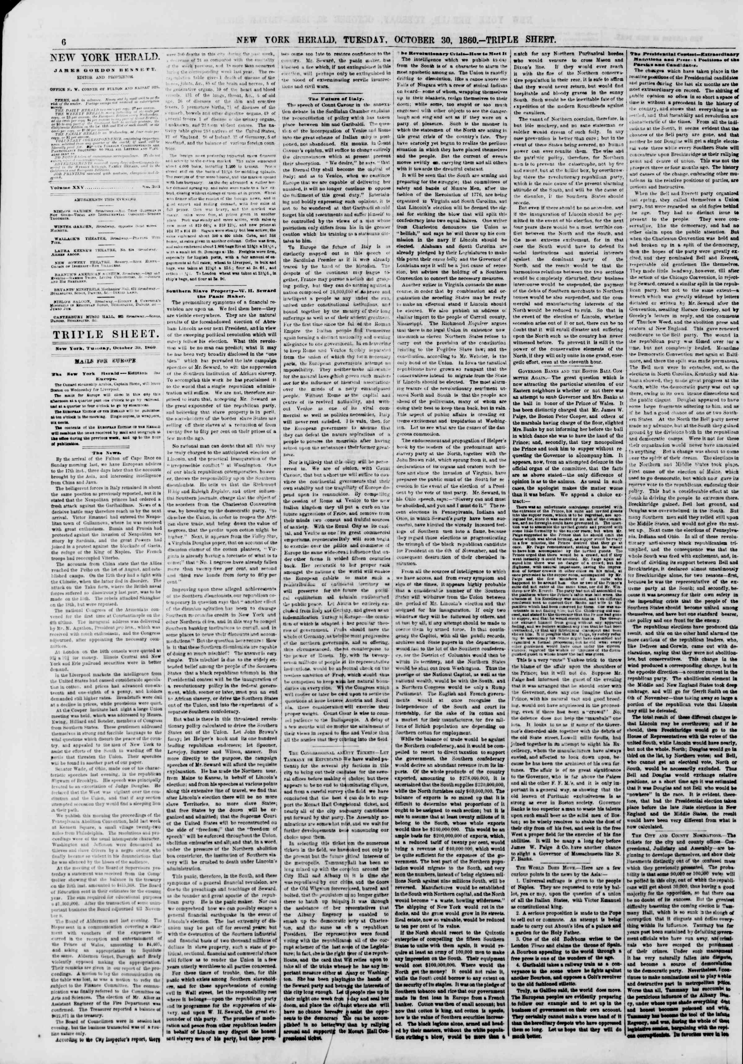 Newspaper of The New York Herald dated October 30, 1860 Page 6