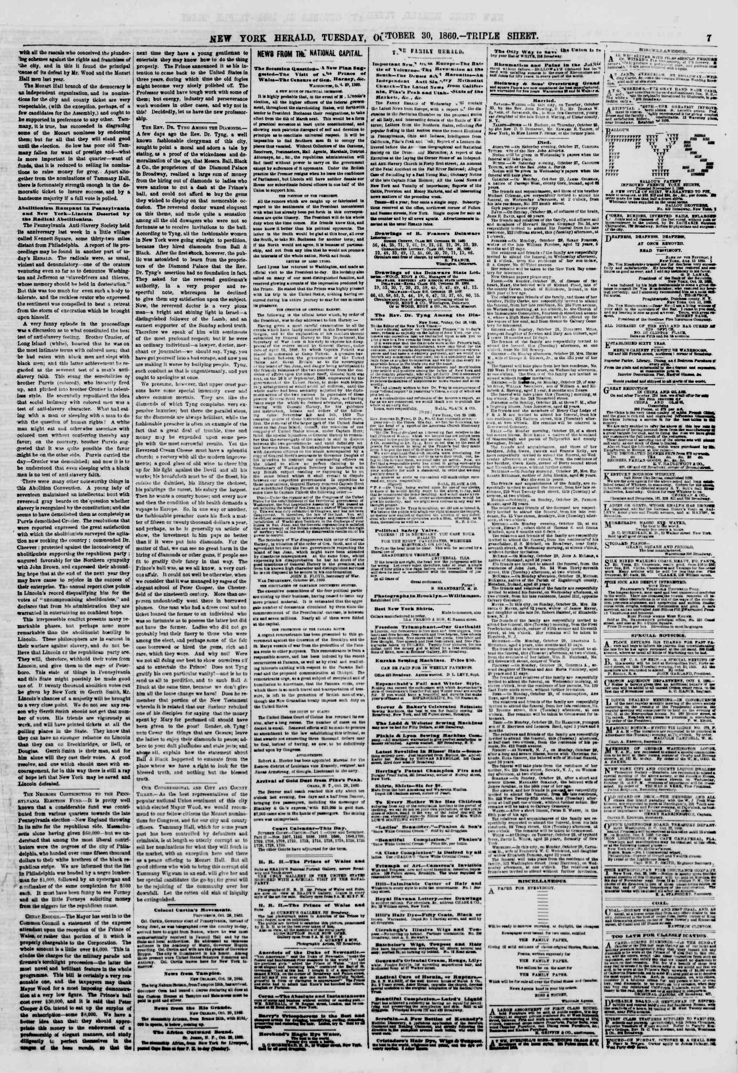 Newspaper of The New York Herald dated October 30, 1860 Page 7