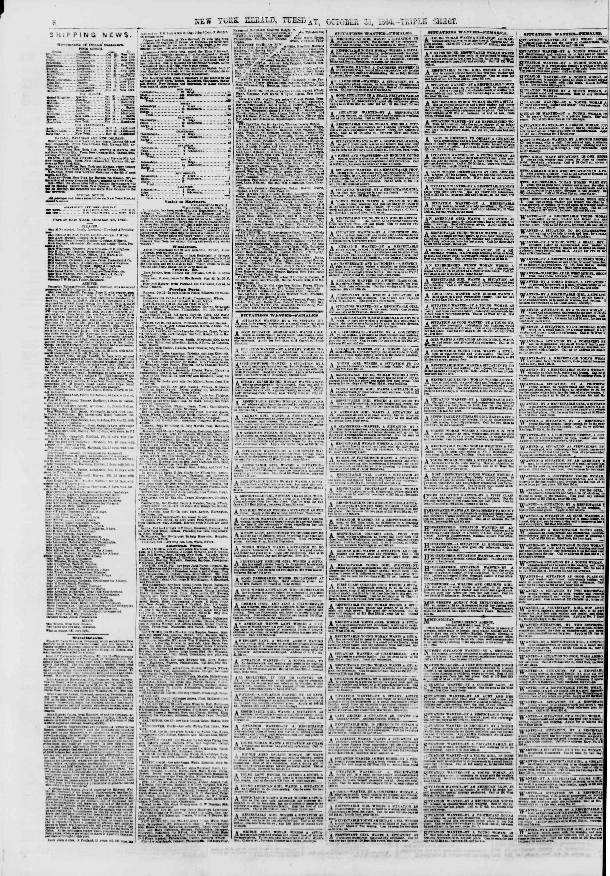 Newspaper of The New York Herald dated October 30, 1860 Page 8