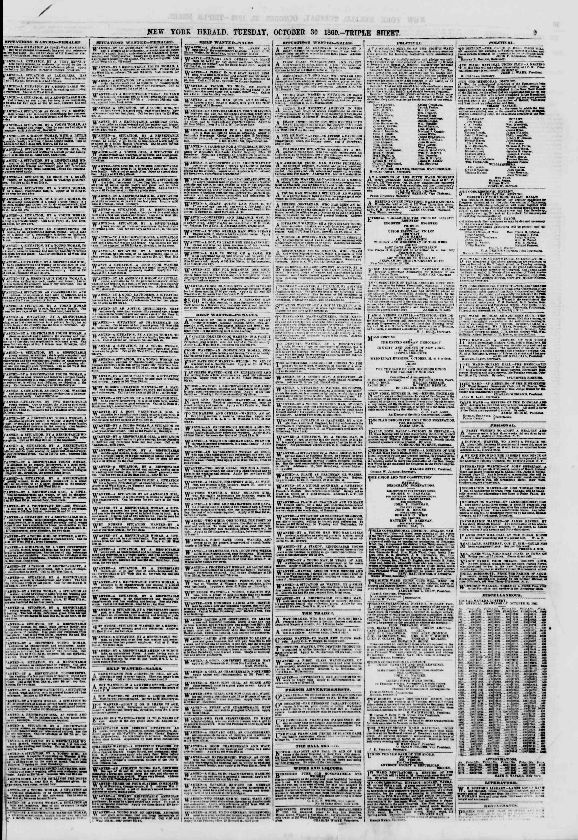 Newspaper of The New York Herald dated October 30, 1860 Page 9