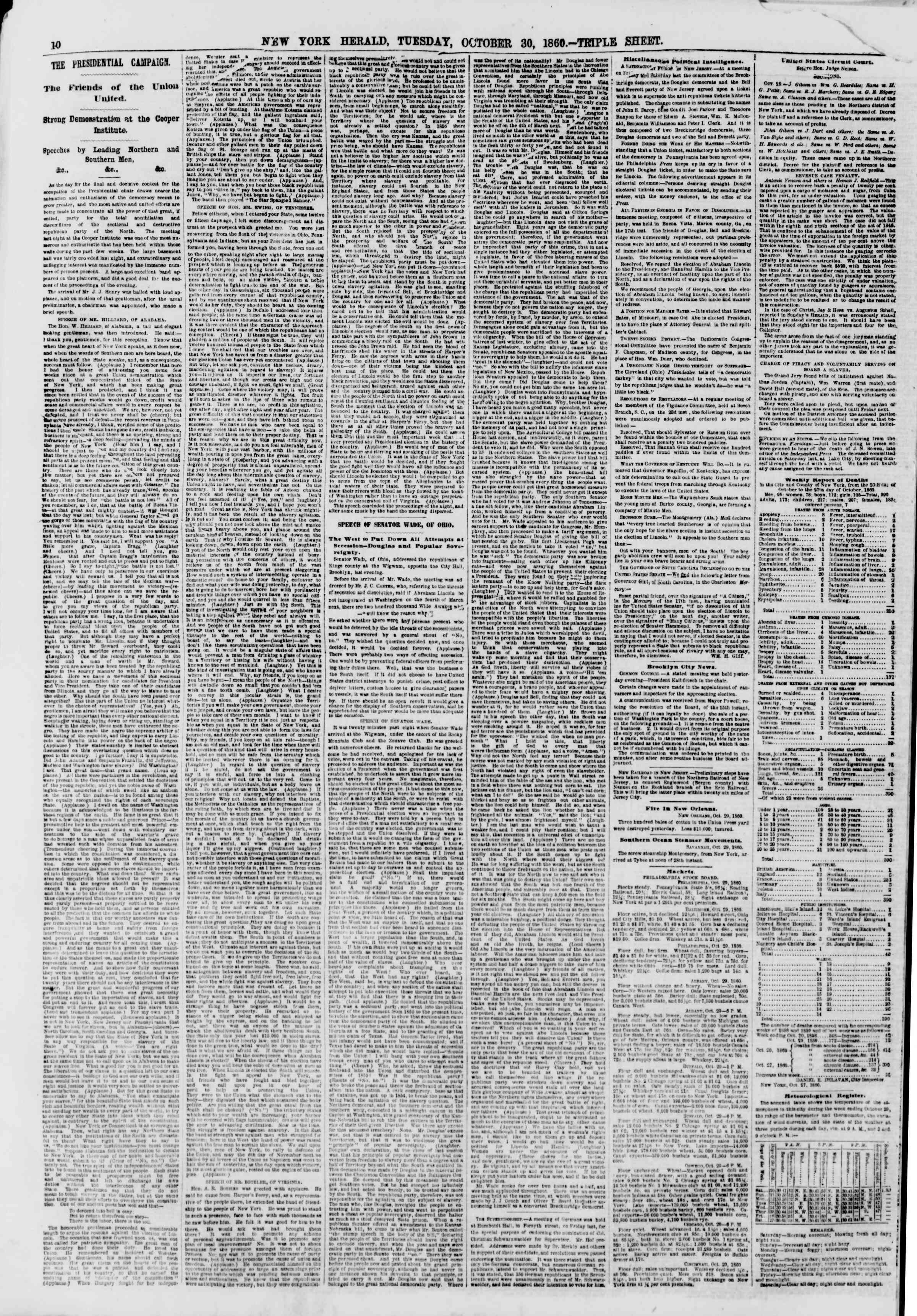 Newspaper of The New York Herald dated October 30, 1860 Page 10