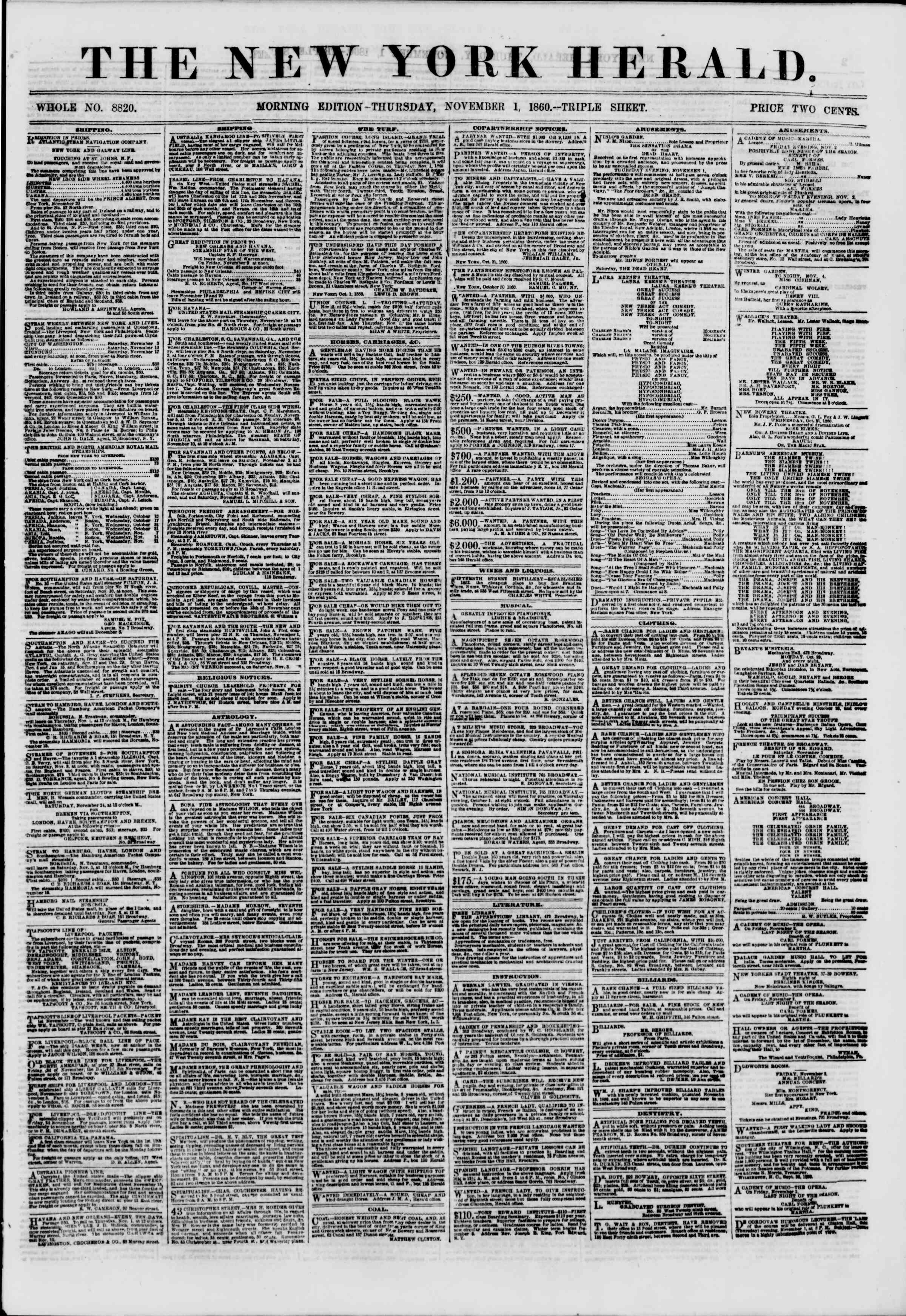 Newspaper of The New York Herald dated November 1, 1860 Page 1