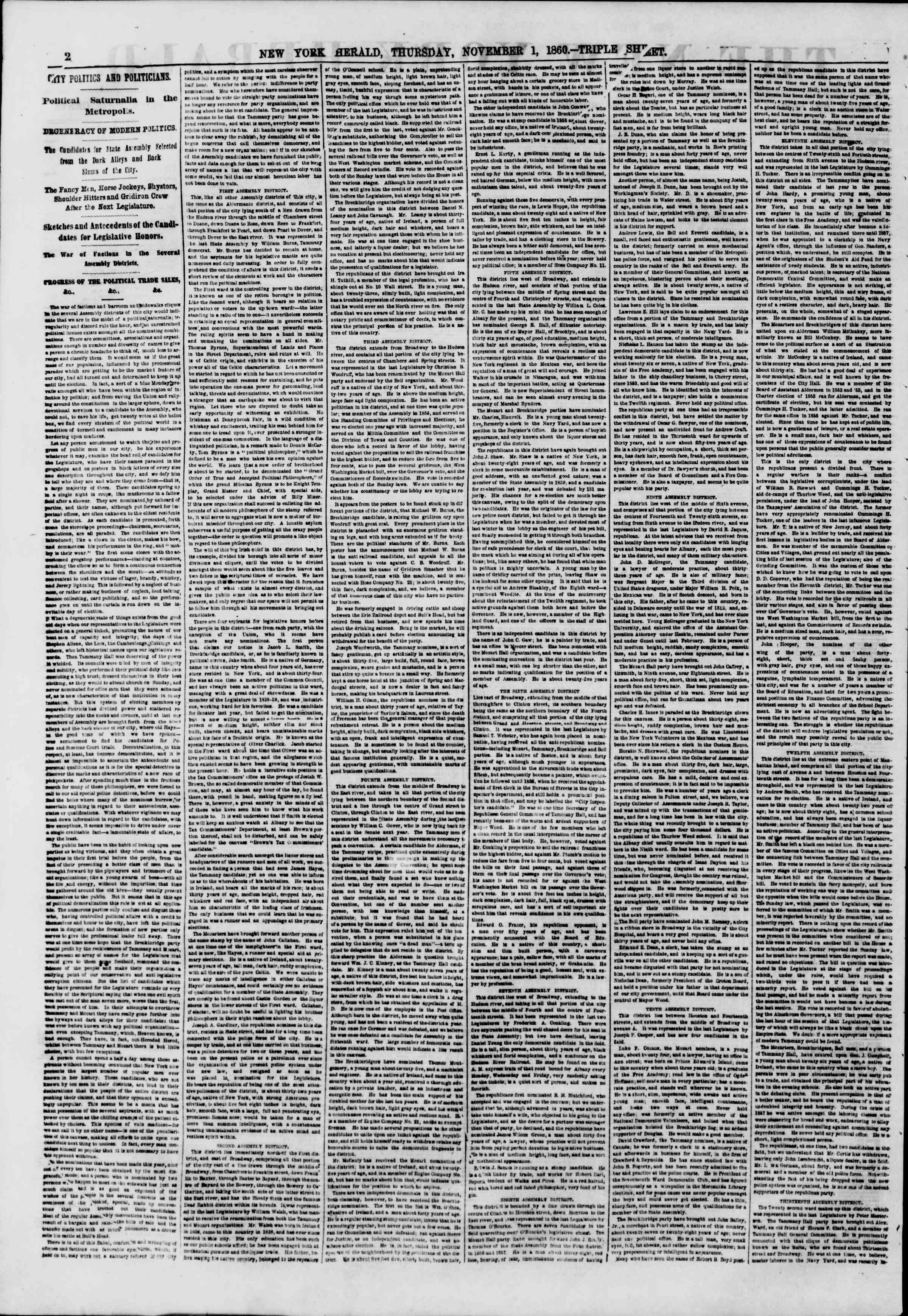 Newspaper of The New York Herald dated November 1, 1860 Page 2