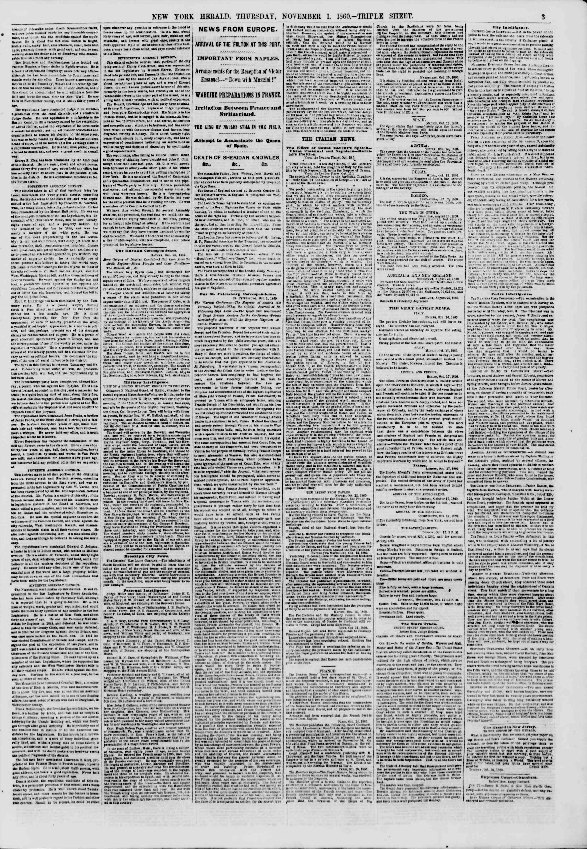 Newspaper of The New York Herald dated November 1, 1860 Page 3