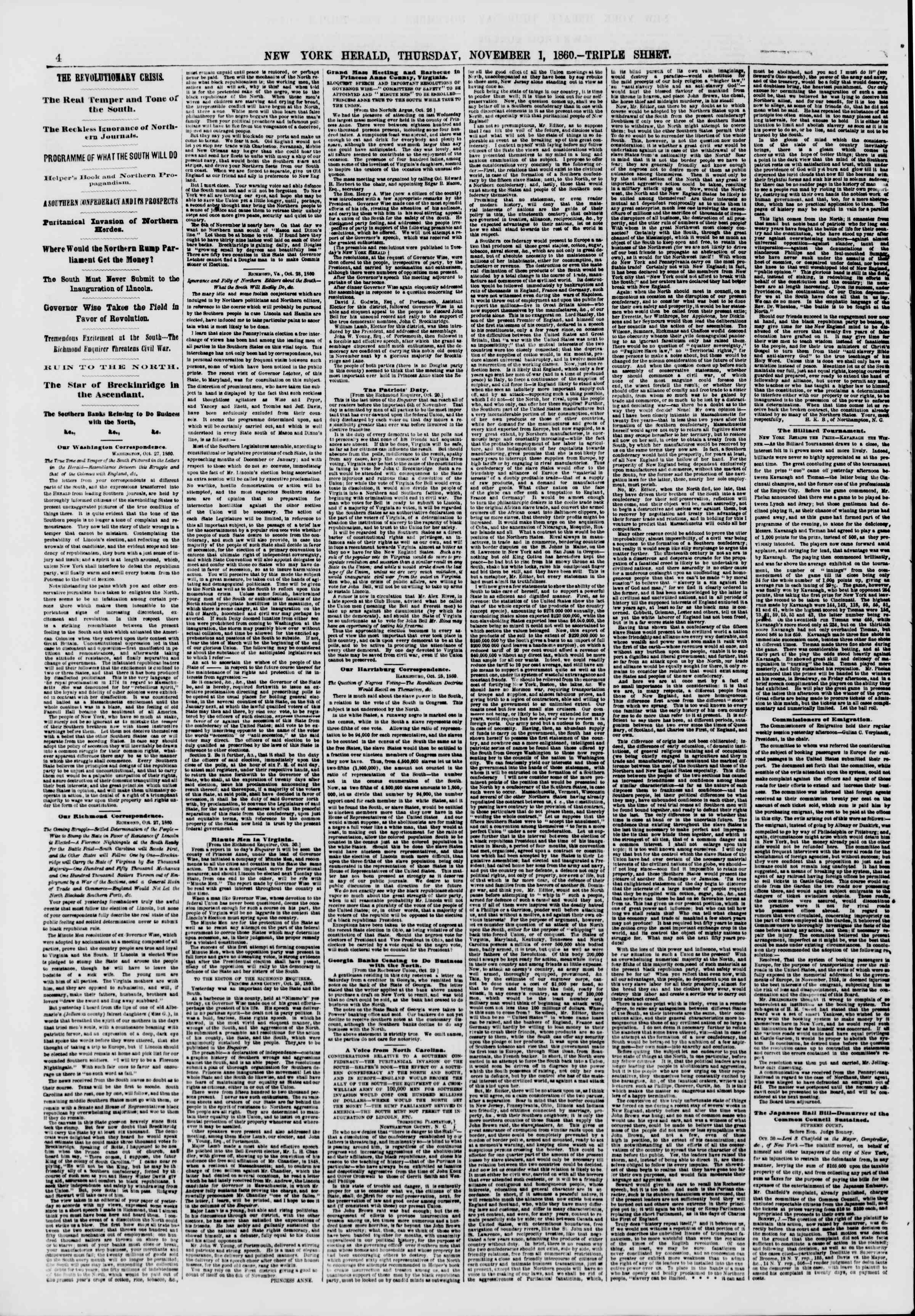 Newspaper of The New York Herald dated November 1, 1860 Page 4