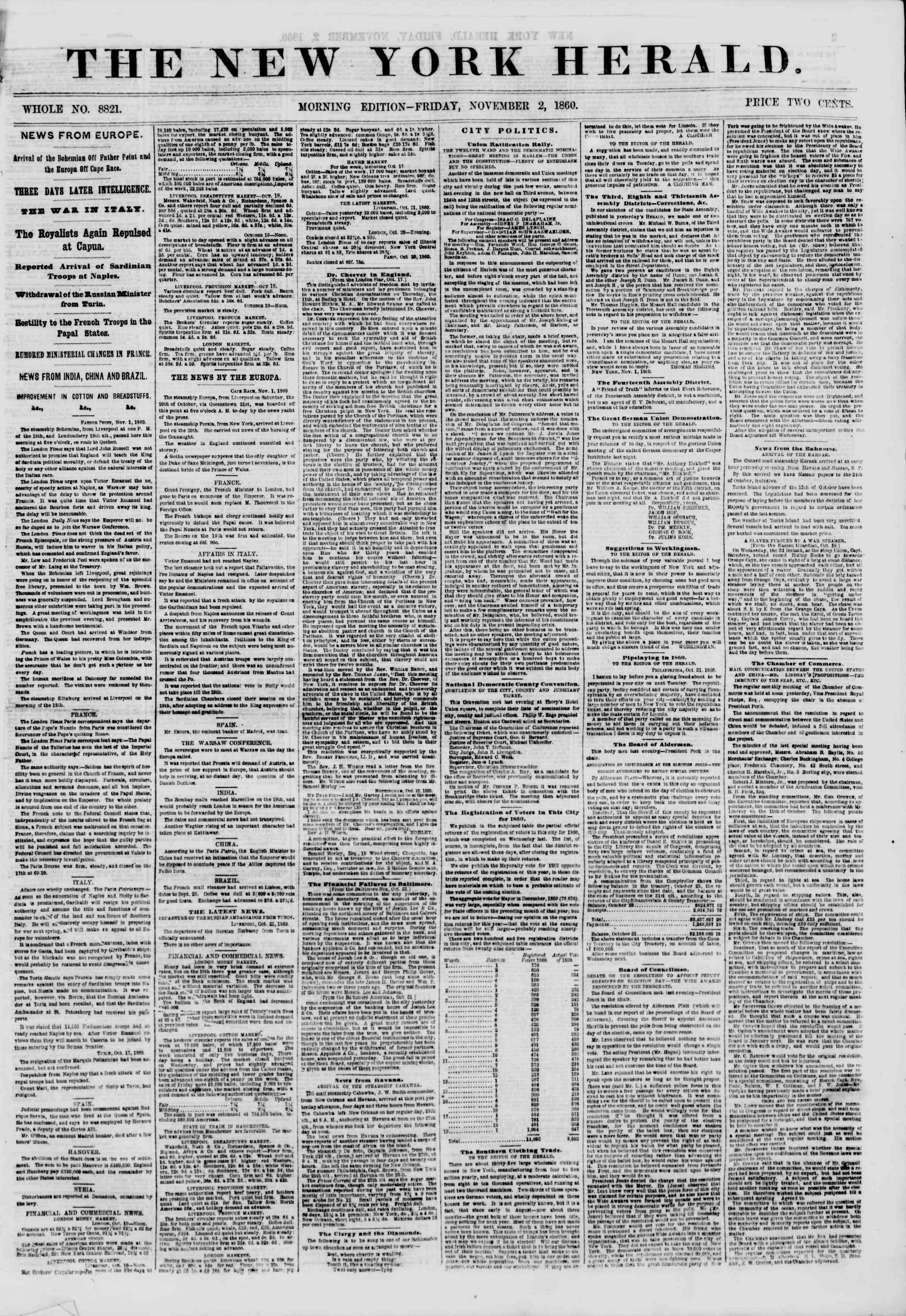Newspaper of The New York Herald dated November 2, 1860 Page 1
