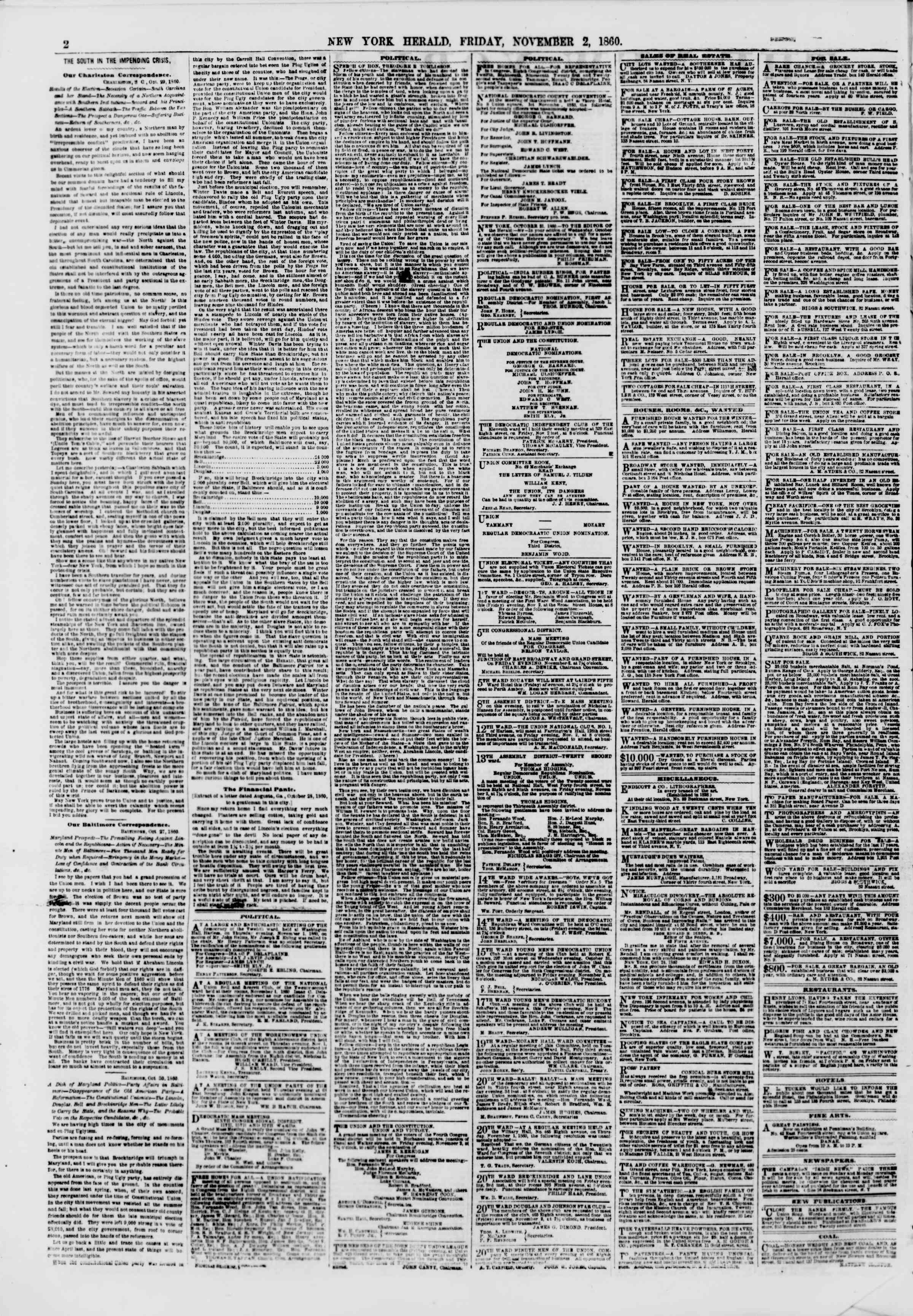 Newspaper of The New York Herald dated November 2, 1860 Page 2