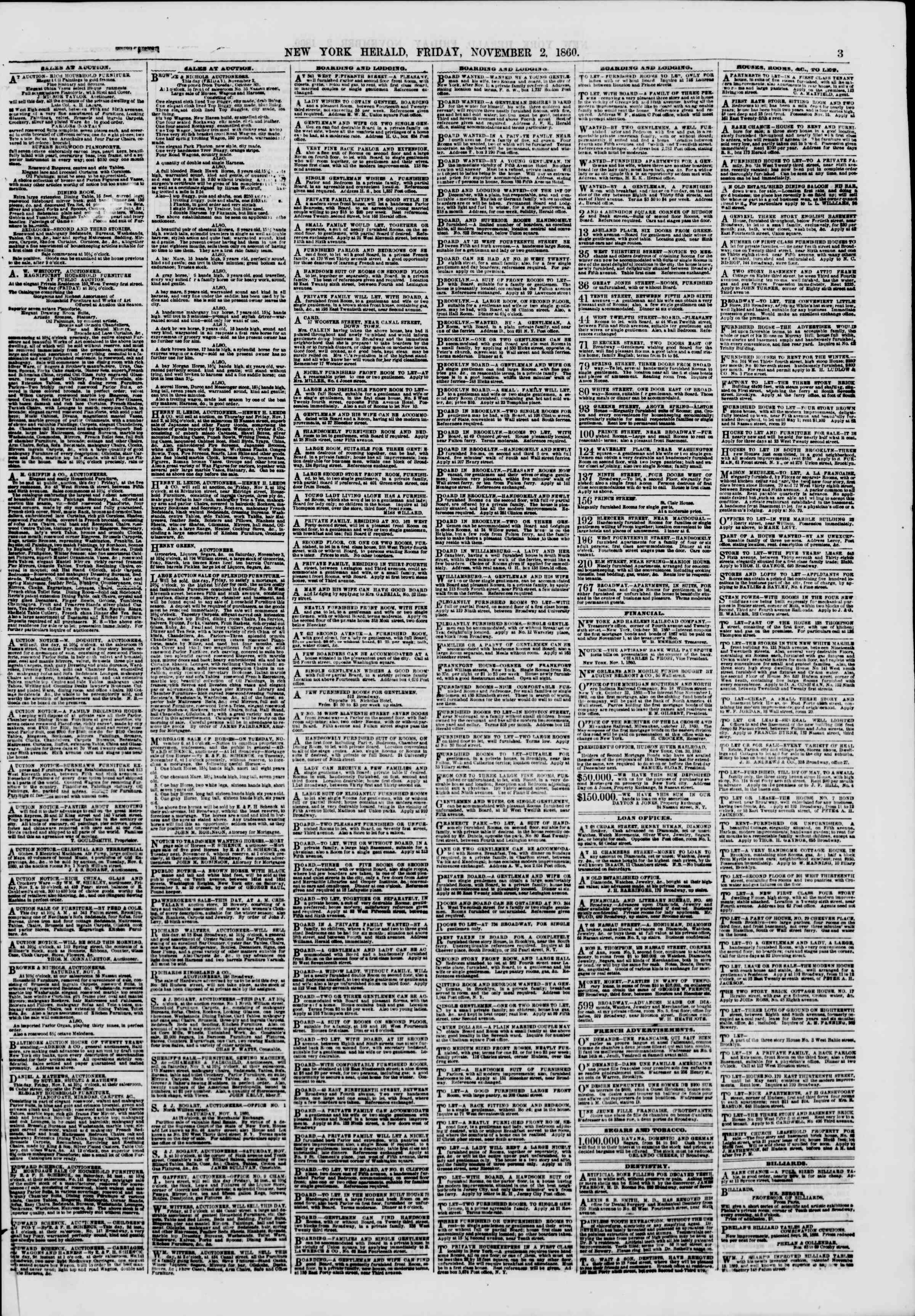 Newspaper of The New York Herald dated November 2, 1860 Page 3