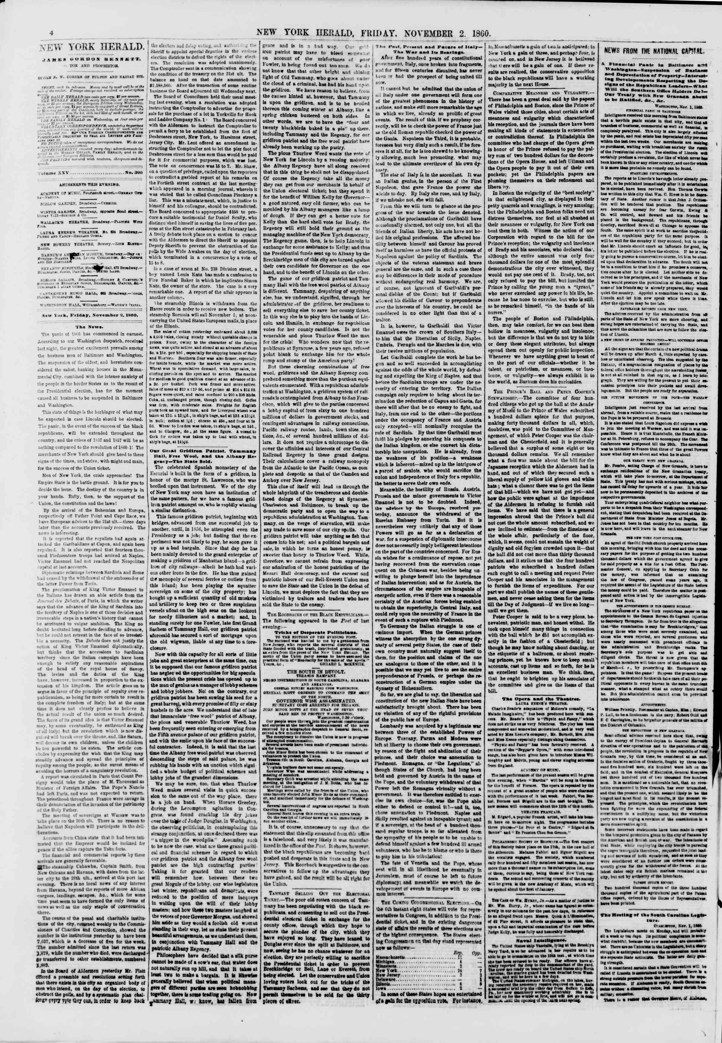 Newspaper of The New York Herald dated November 2, 1860 Page 4