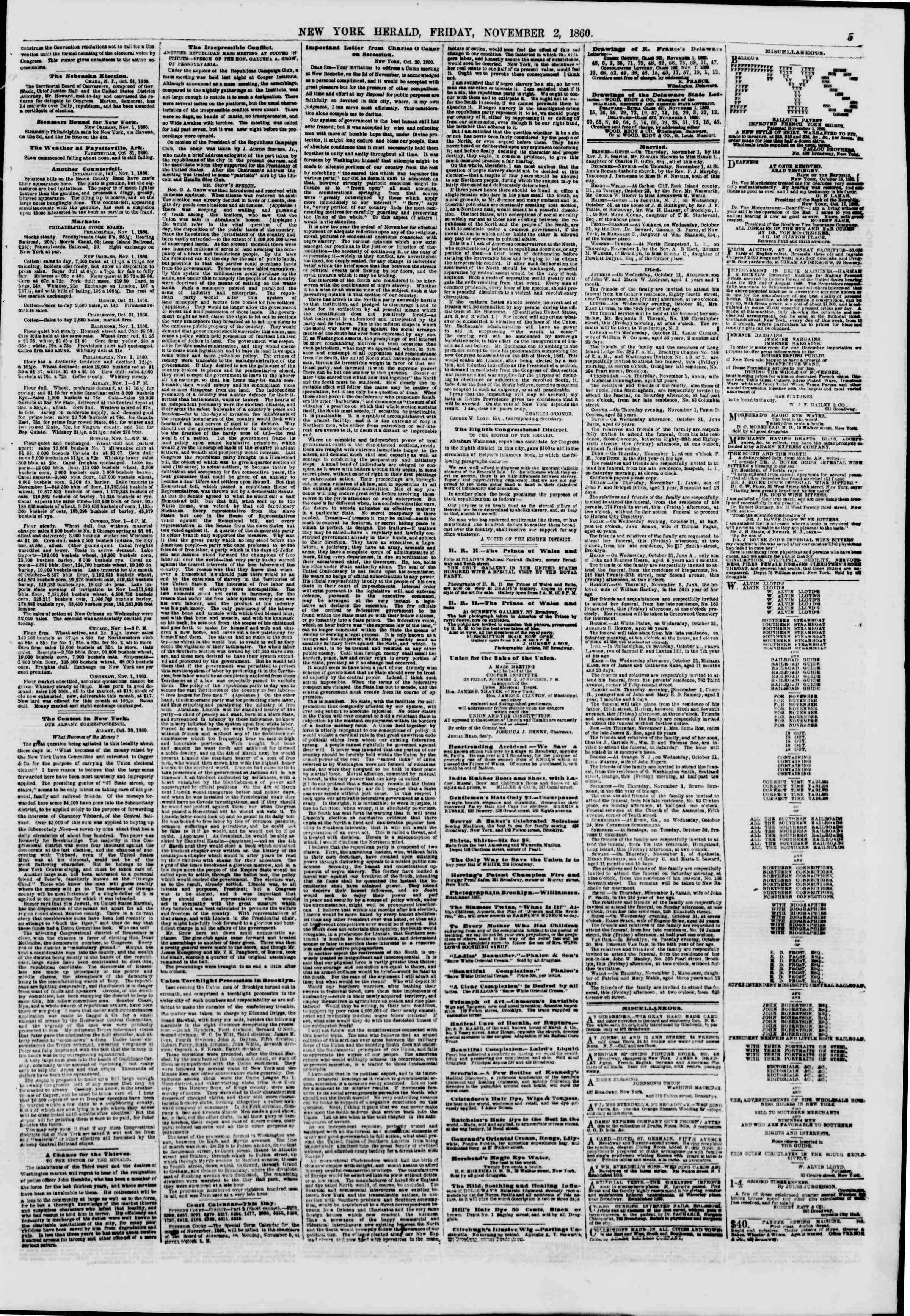 Newspaper of The New York Herald dated November 2, 1860 Page 5