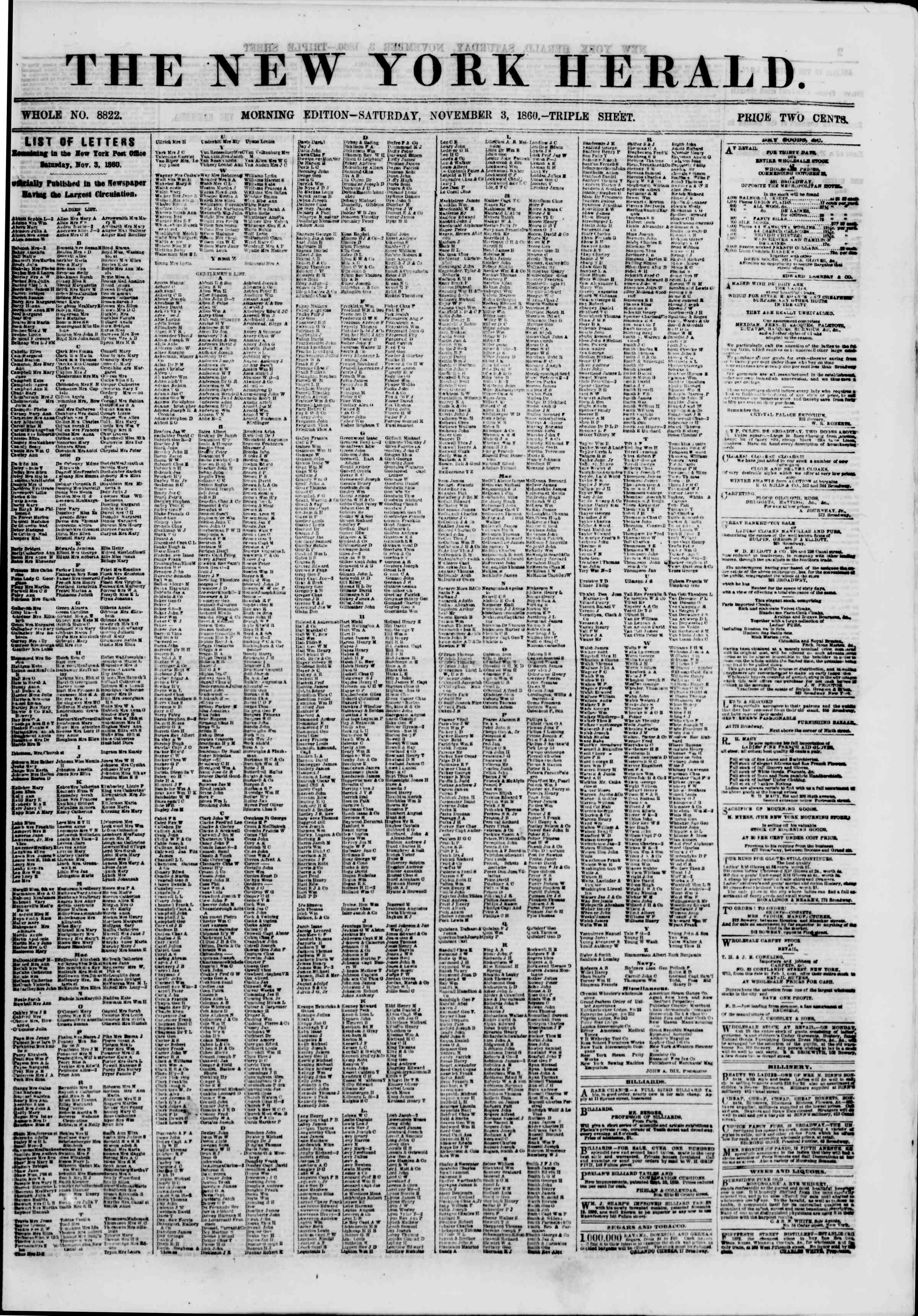 Newspaper of The New York Herald dated November 3, 1860 Page 1
