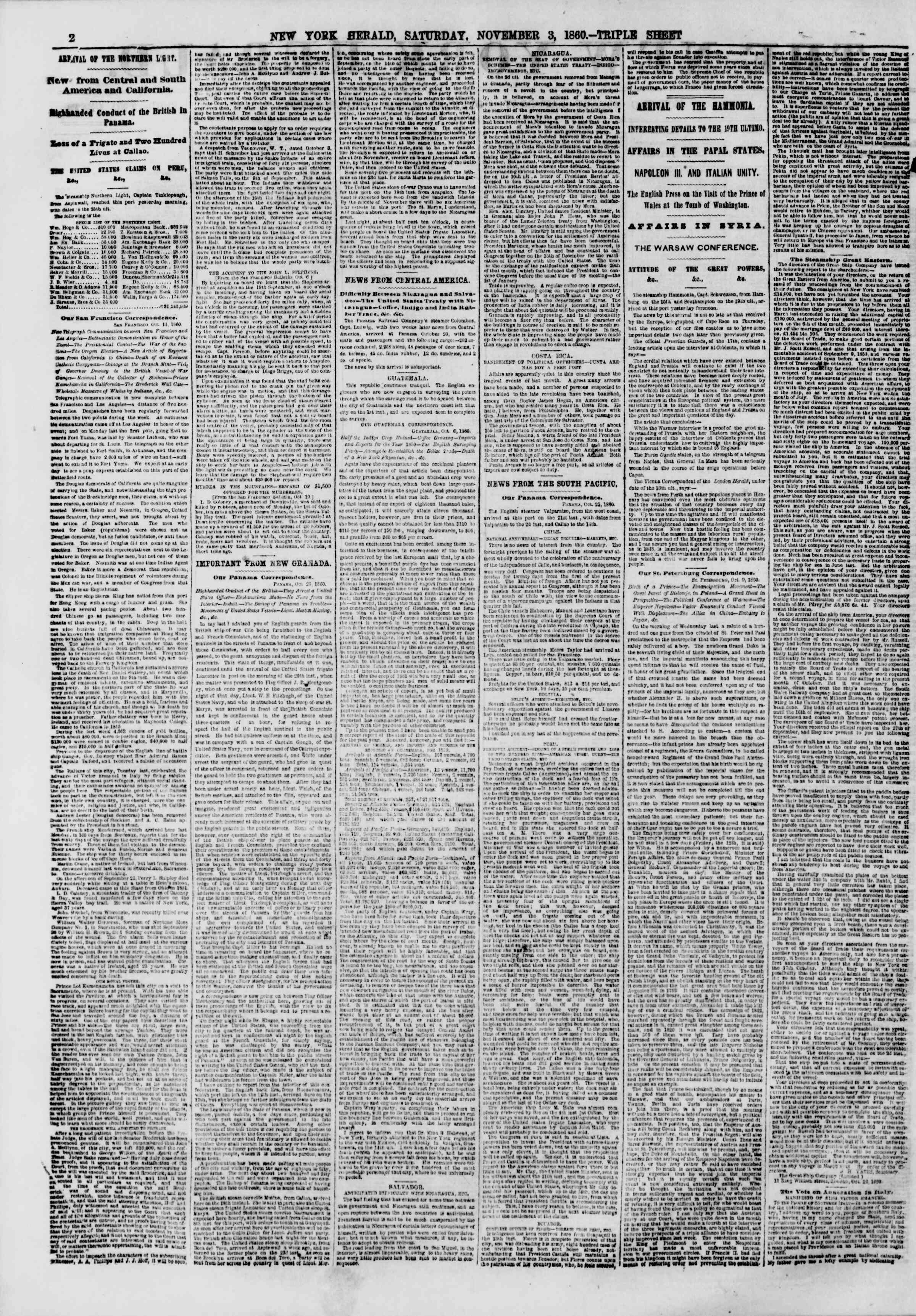 Newspaper of The New York Herald dated November 3, 1860 Page 2