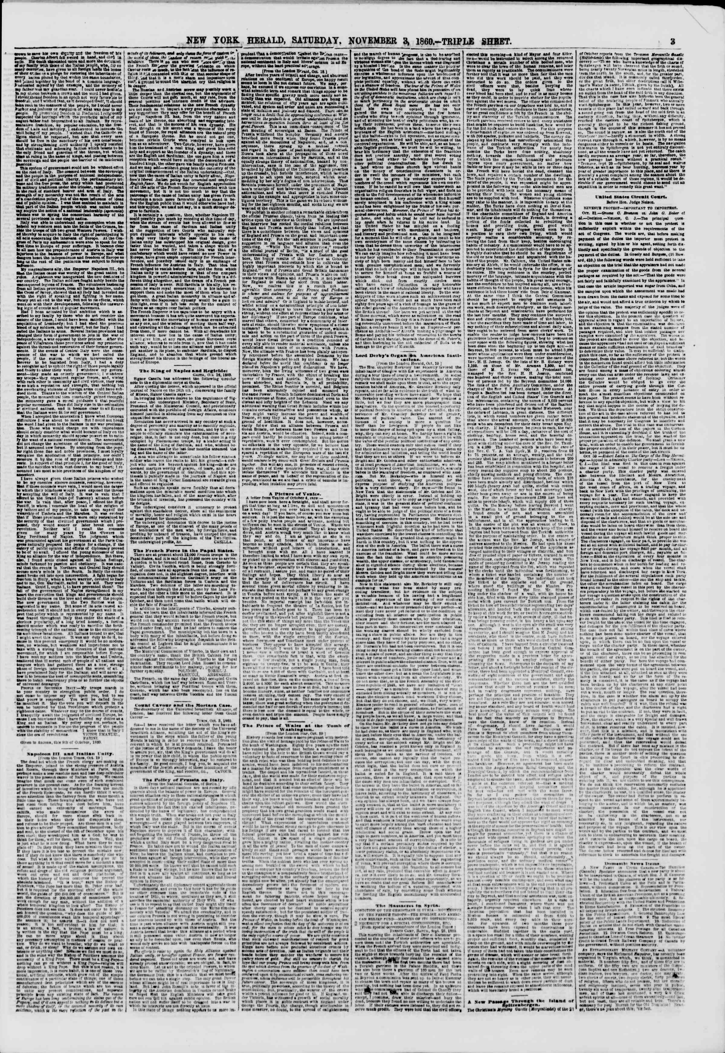 Newspaper of The New York Herald dated November 3, 1860 Page 3