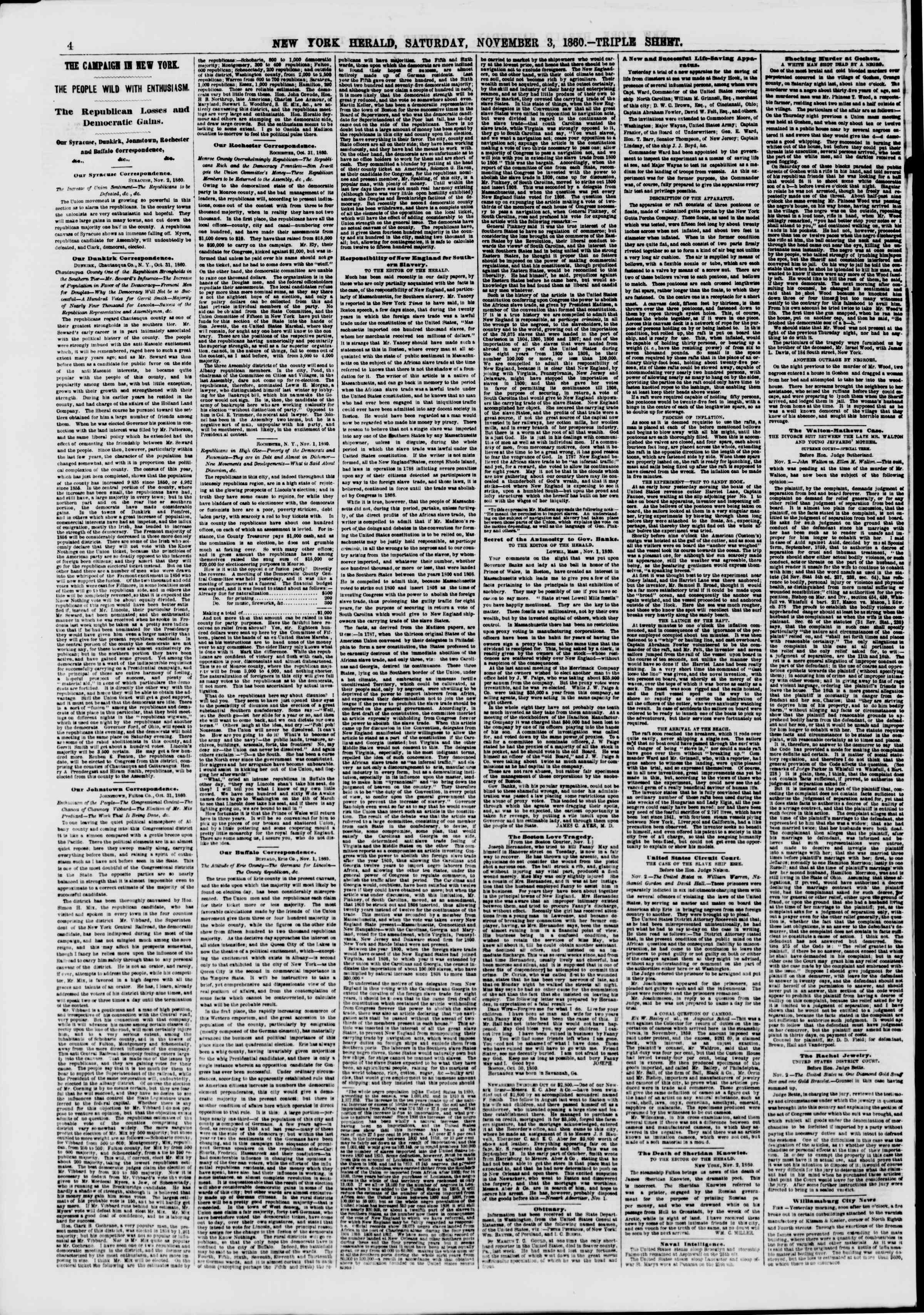 Newspaper of The New York Herald dated November 3, 1860 Page 4