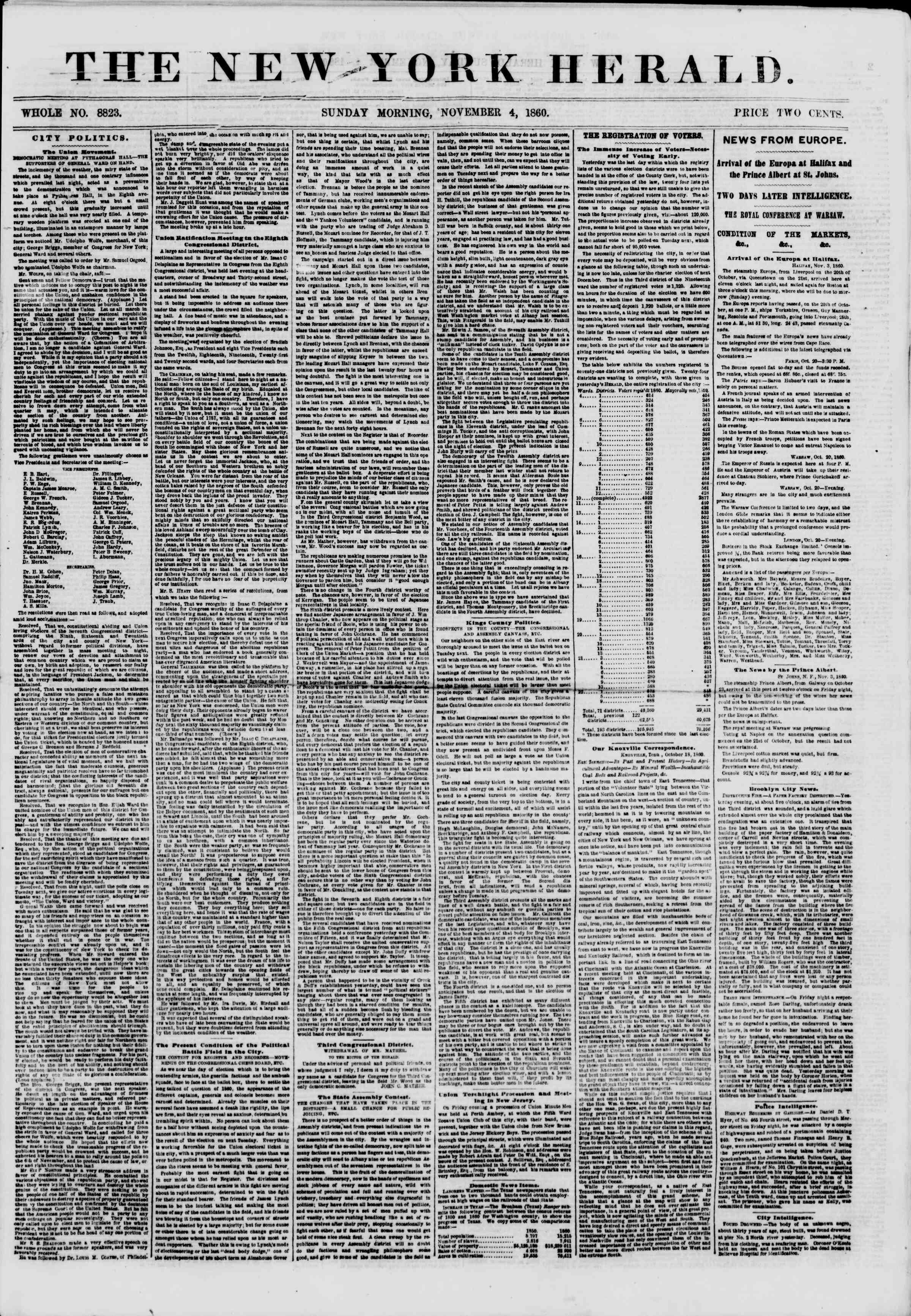 Newspaper of The New York Herald dated November 4, 1860 Page 1