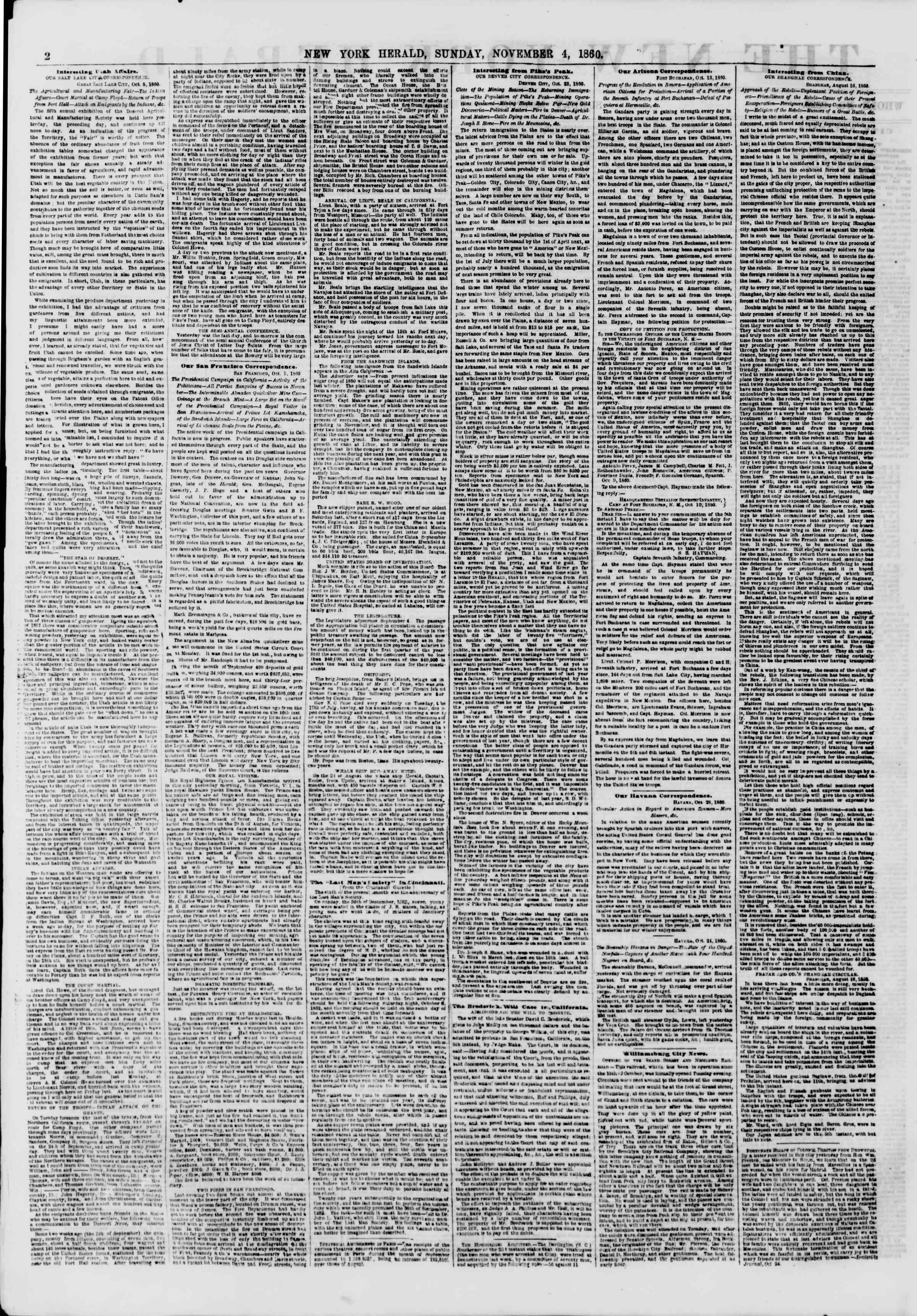 Newspaper of The New York Herald dated November 4, 1860 Page 2