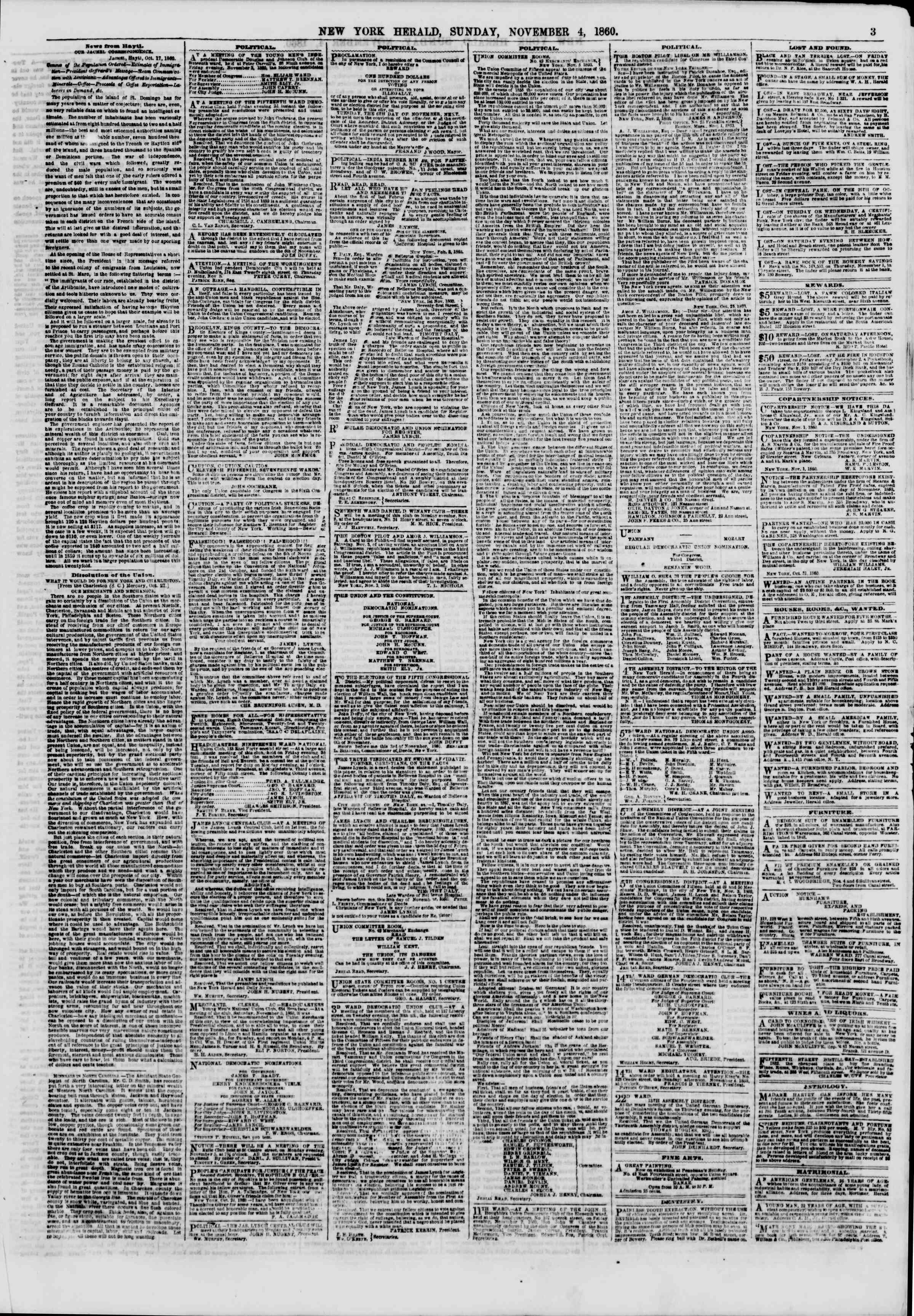 Newspaper of The New York Herald dated November 4, 1860 Page 3