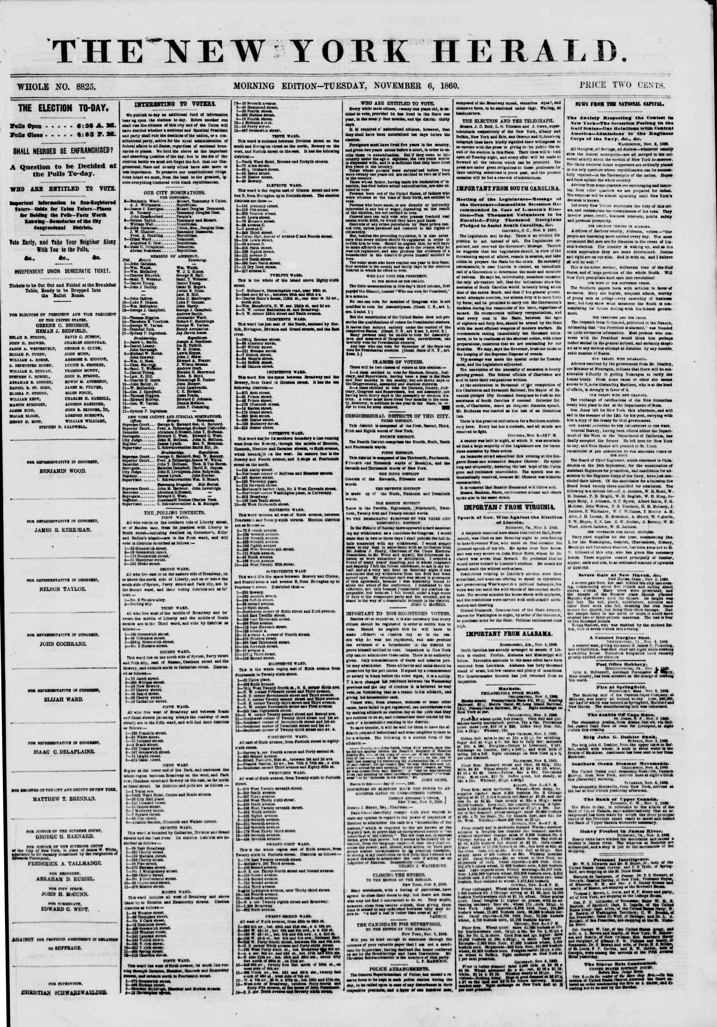 Newspaper of The New York Herald dated November 6, 1860 Page 1