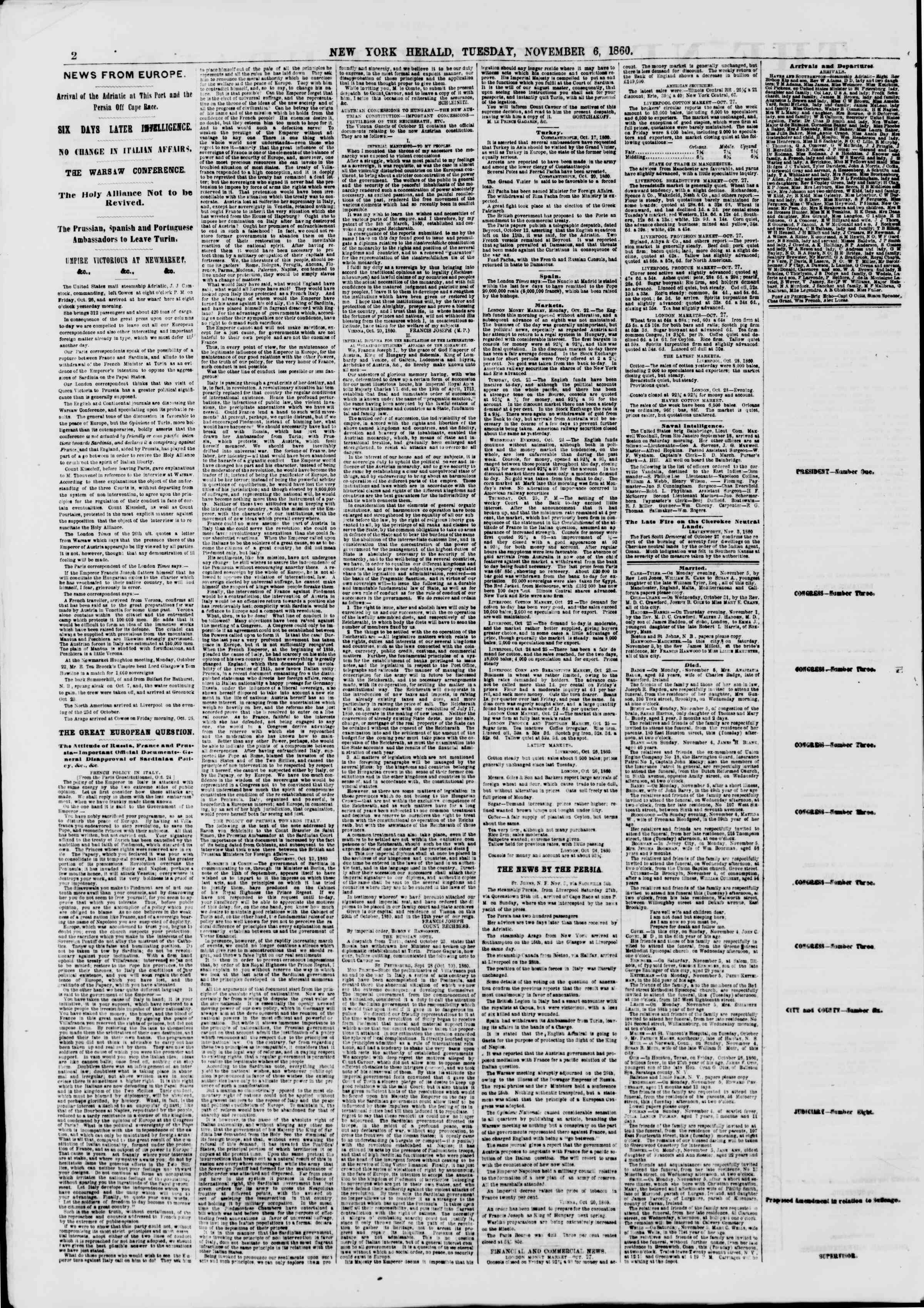 Newspaper of The New York Herald dated November 6, 1860 Page 2
