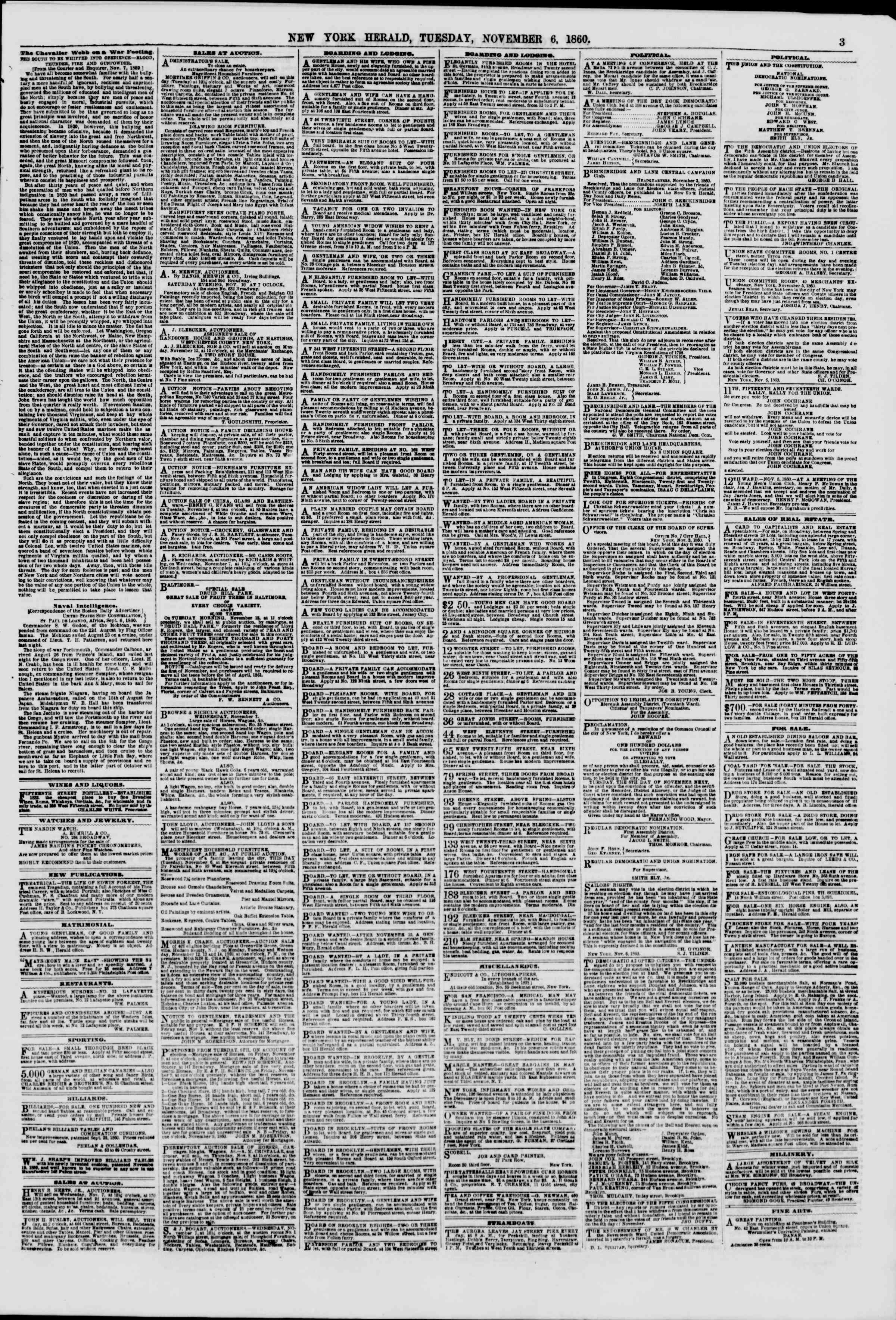 Newspaper of The New York Herald dated November 6, 1860 Page 3