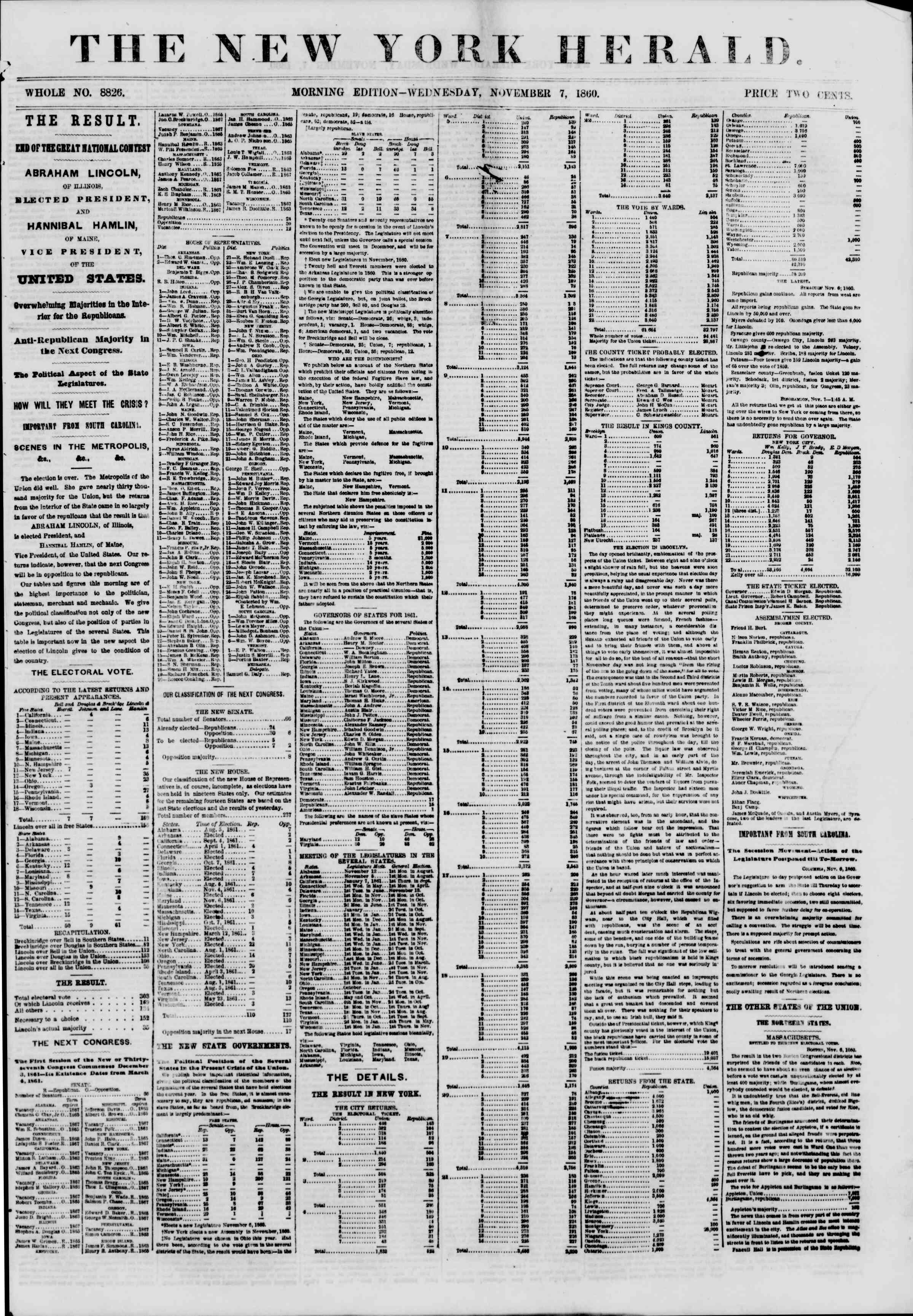 Newspaper of The New York Herald dated November 7, 1860 Page 1