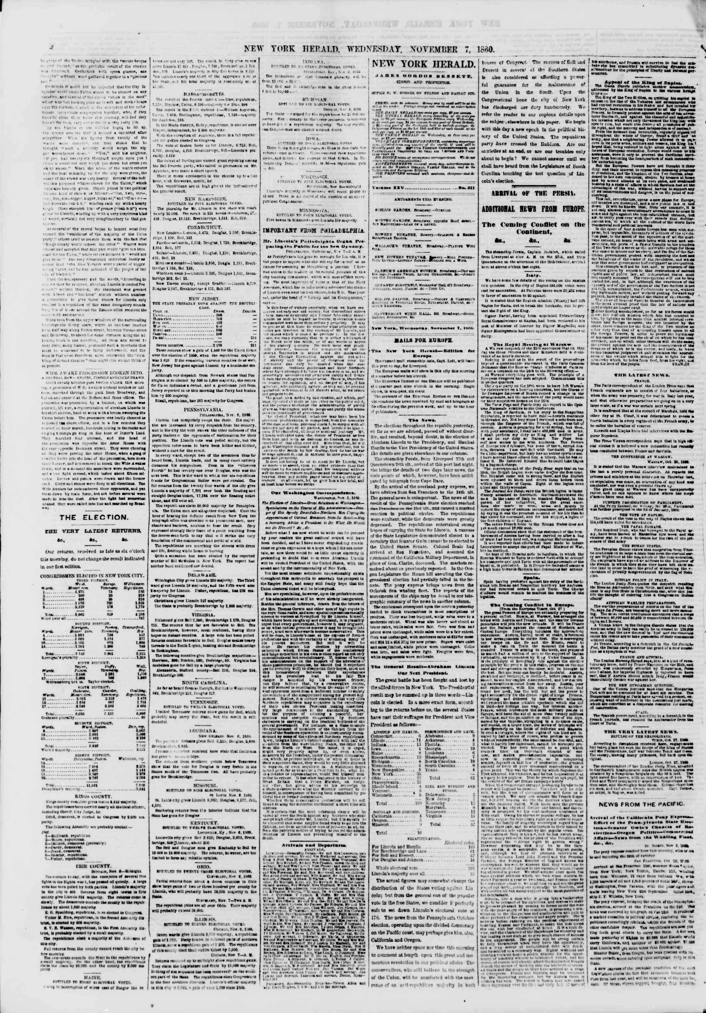 Newspaper of The New York Herald dated November 7, 1860 Page 4