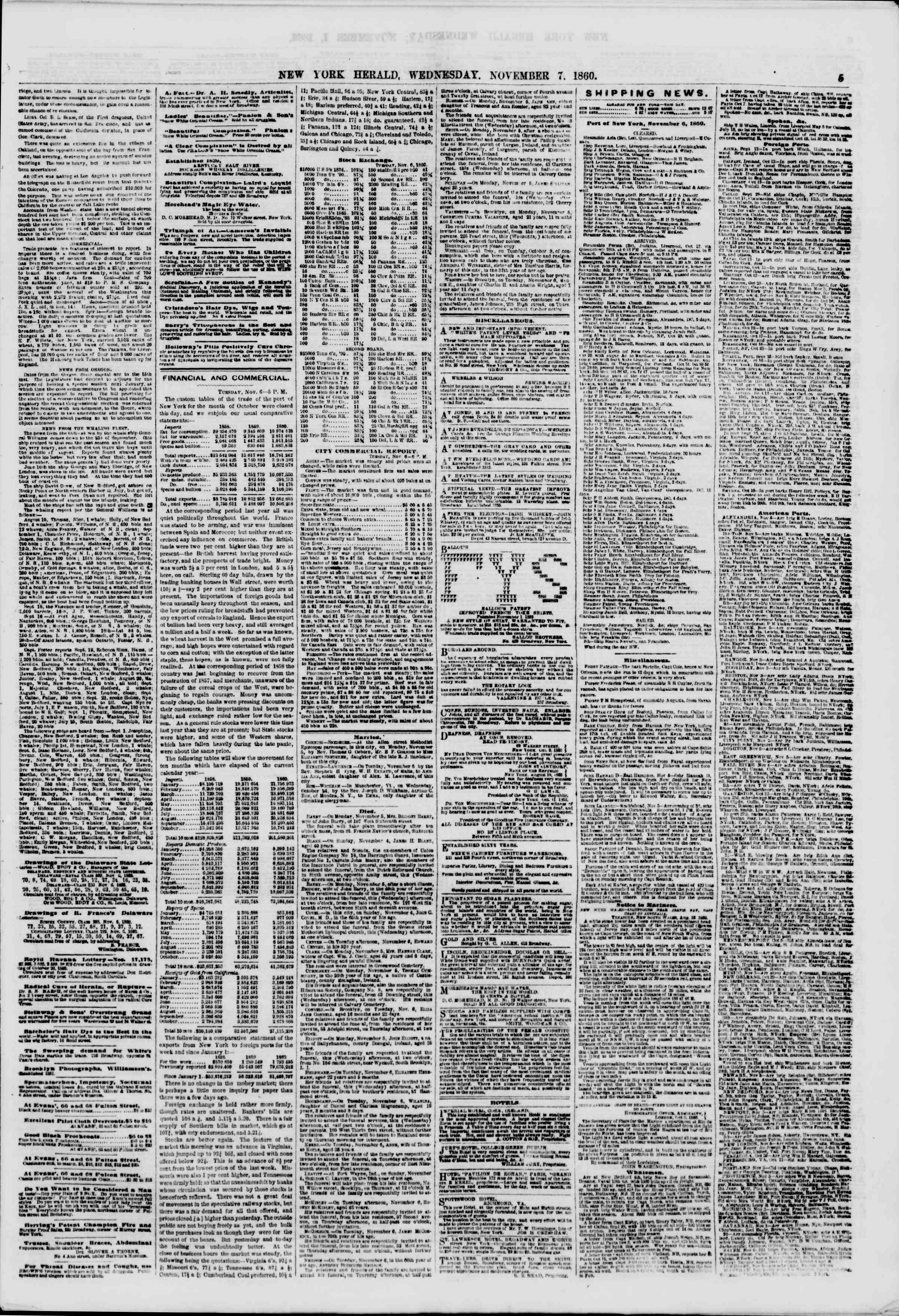 Newspaper of The New York Herald dated November 7, 1860 Page 5