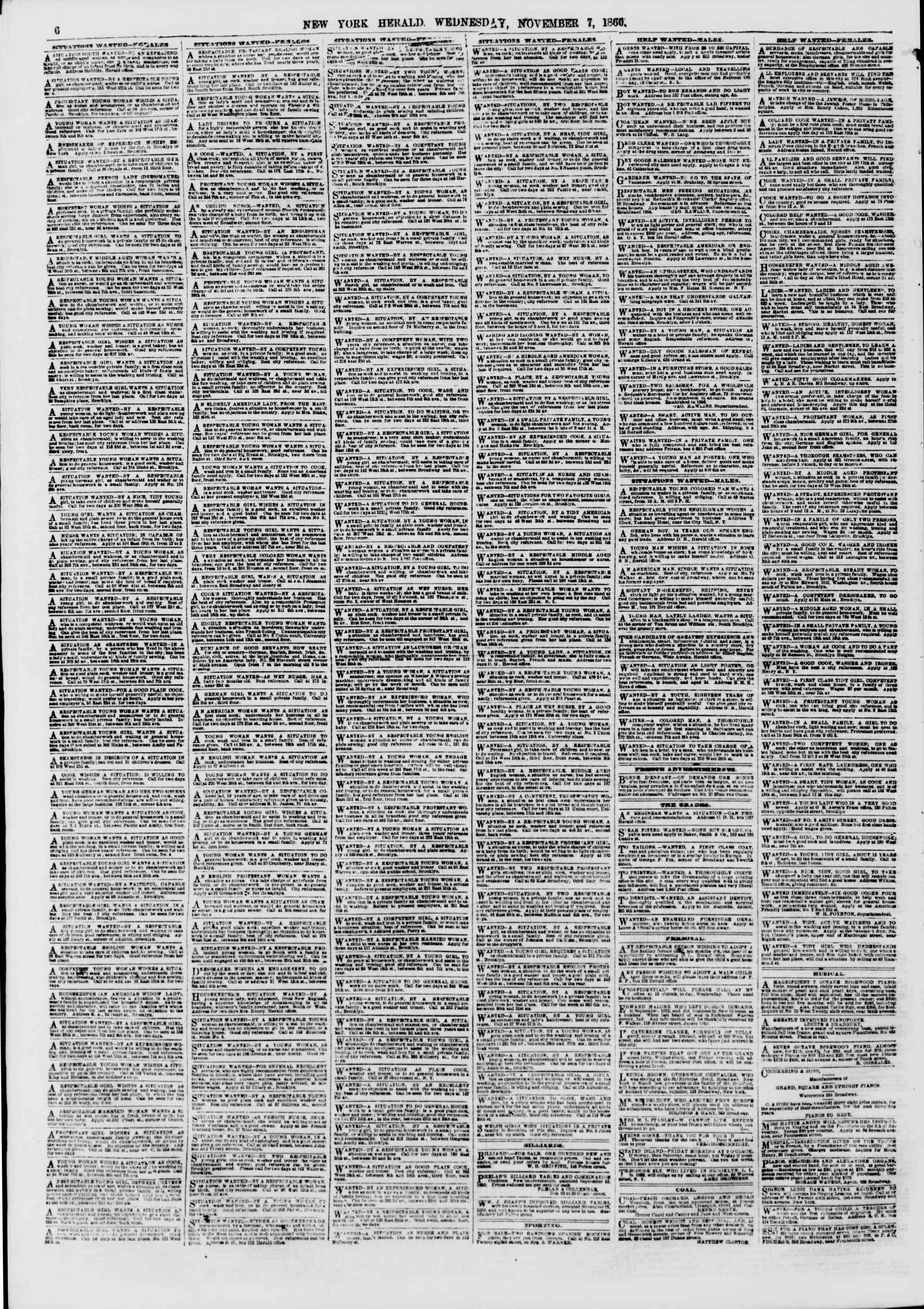 Newspaper of The New York Herald dated November 7, 1860 Page 6
