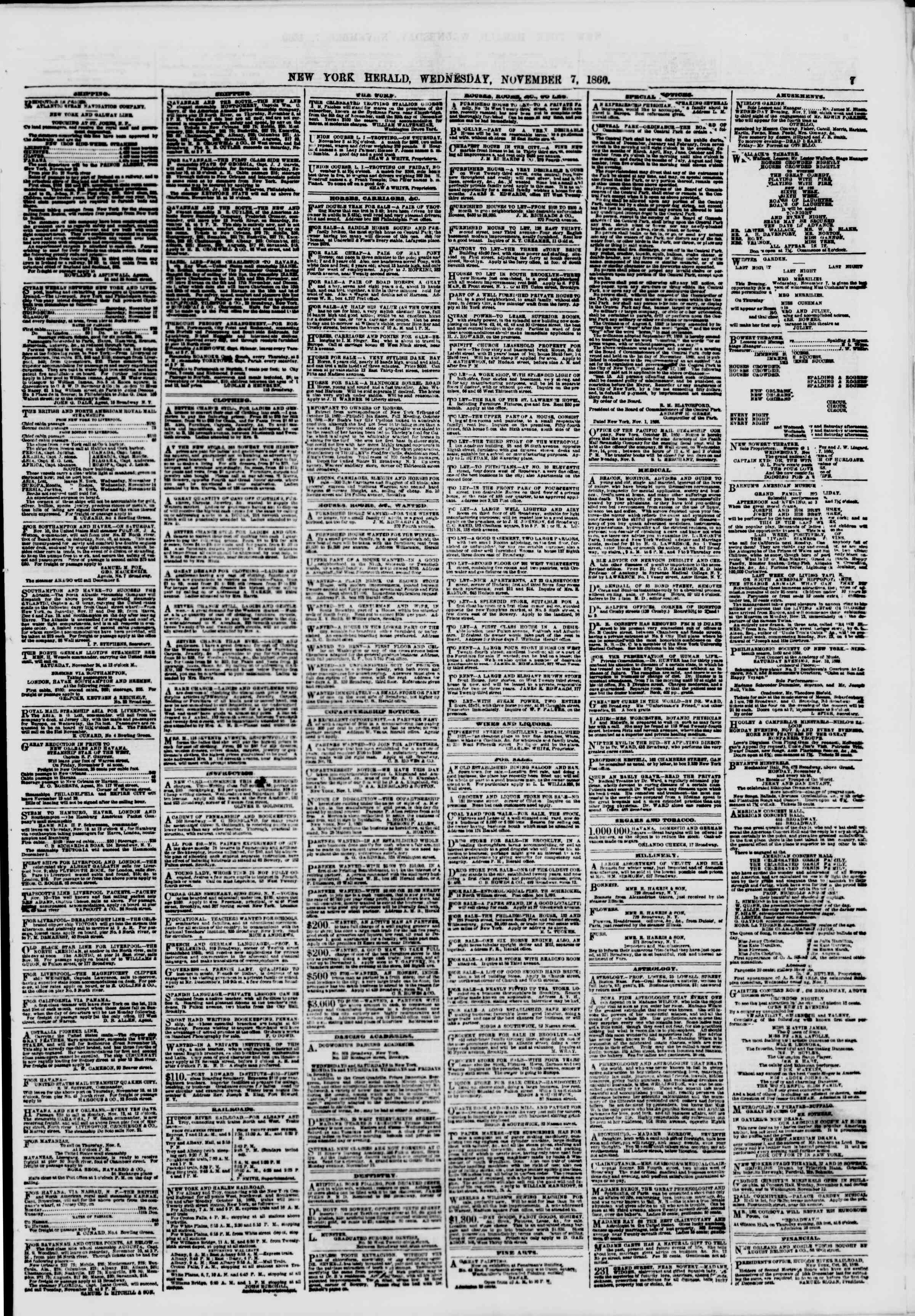 Newspaper of The New York Herald dated November 7, 1860 Page 7