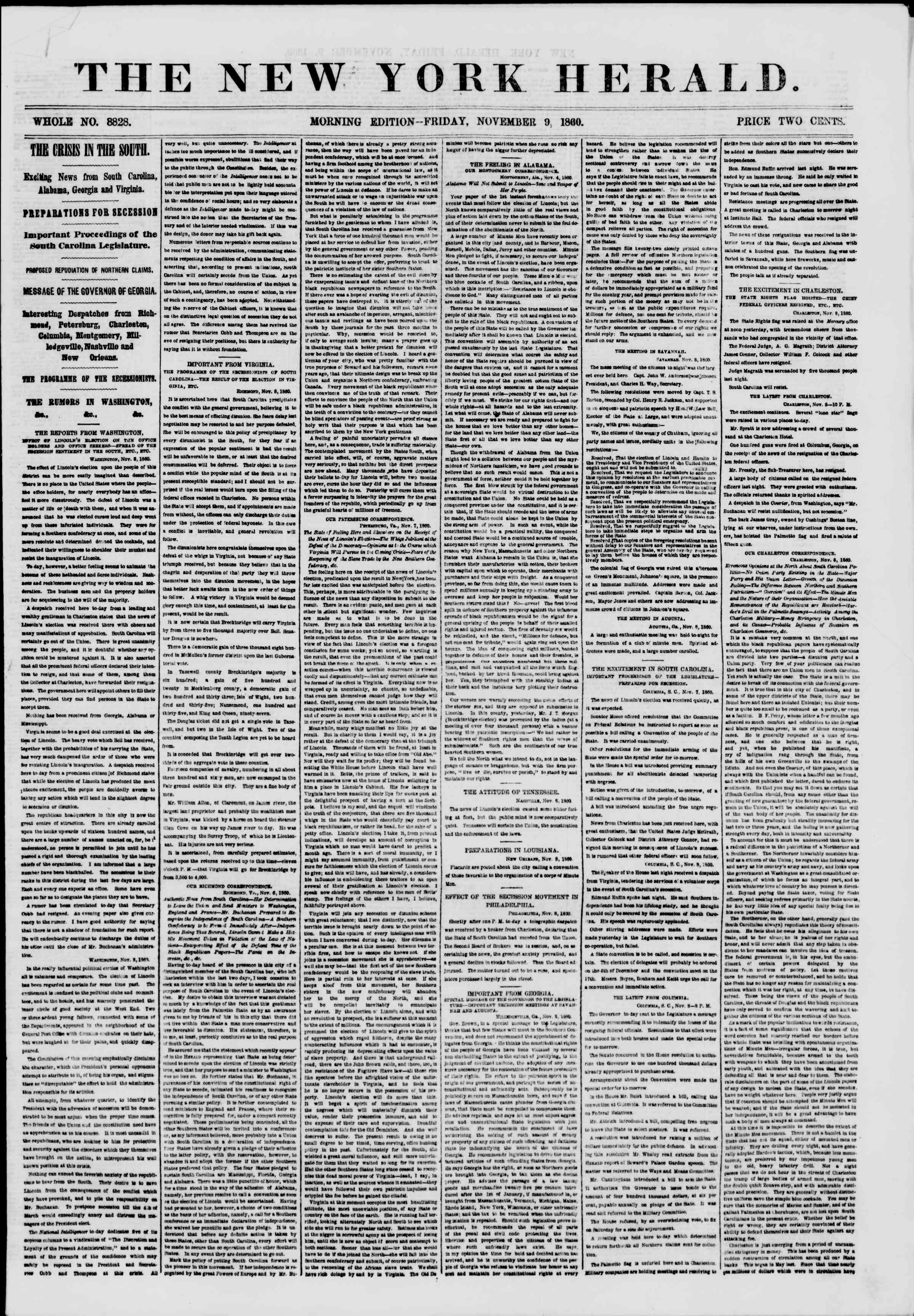 Newspaper of The New York Herald dated November 9, 1860 Page 1