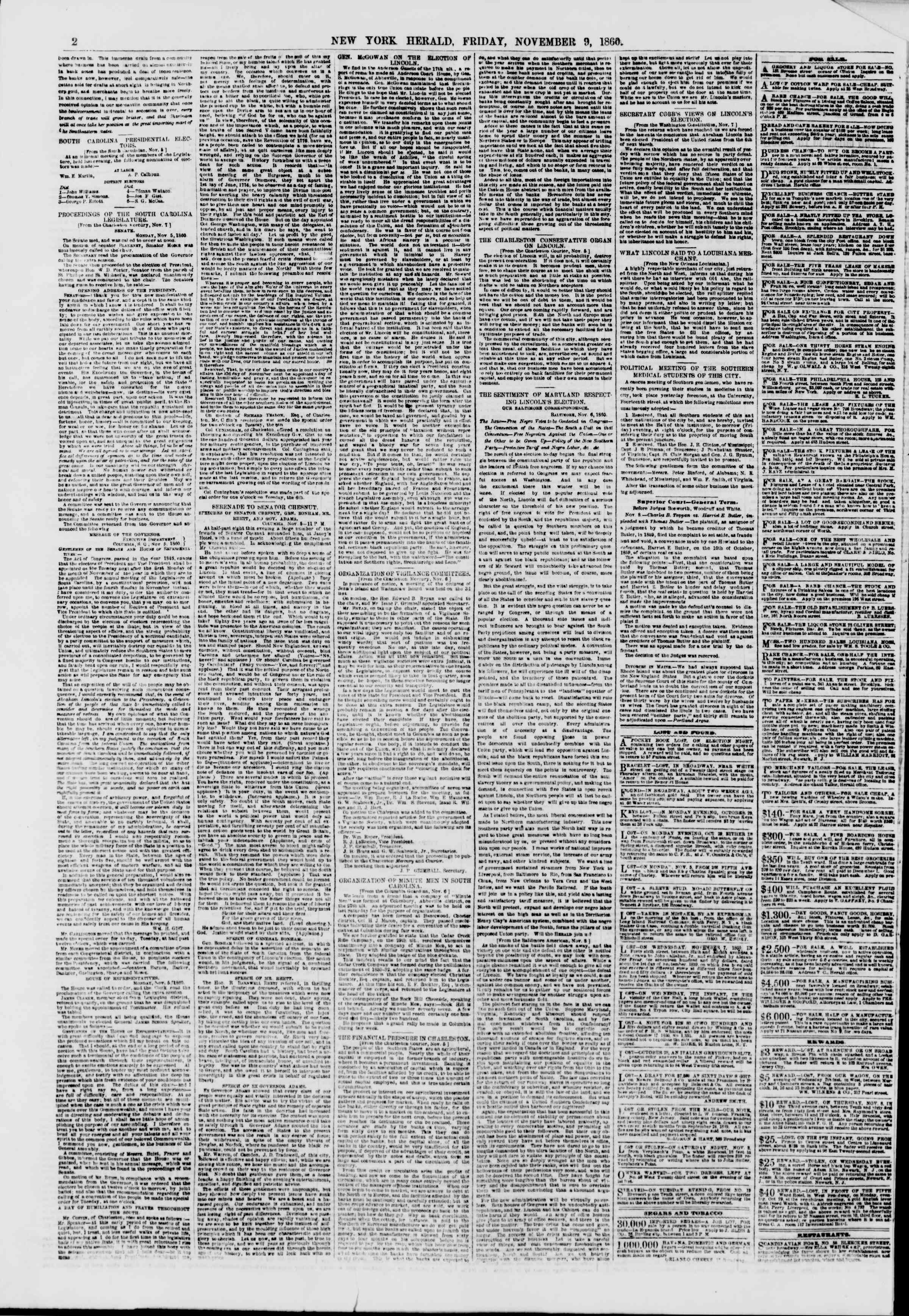 Newspaper of The New York Herald dated November 9, 1860 Page 2