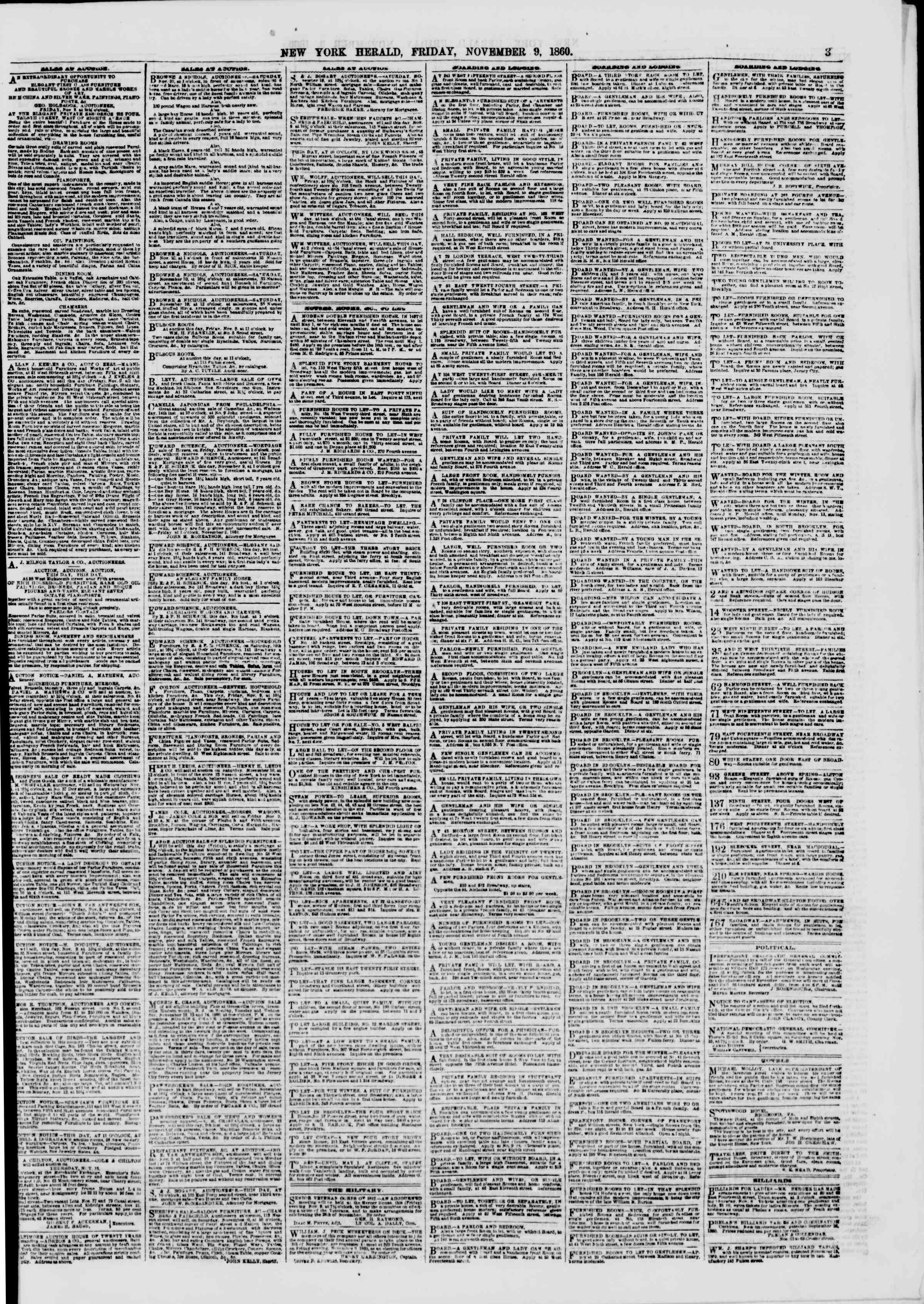 Newspaper of The New York Herald dated November 9, 1860 Page 3