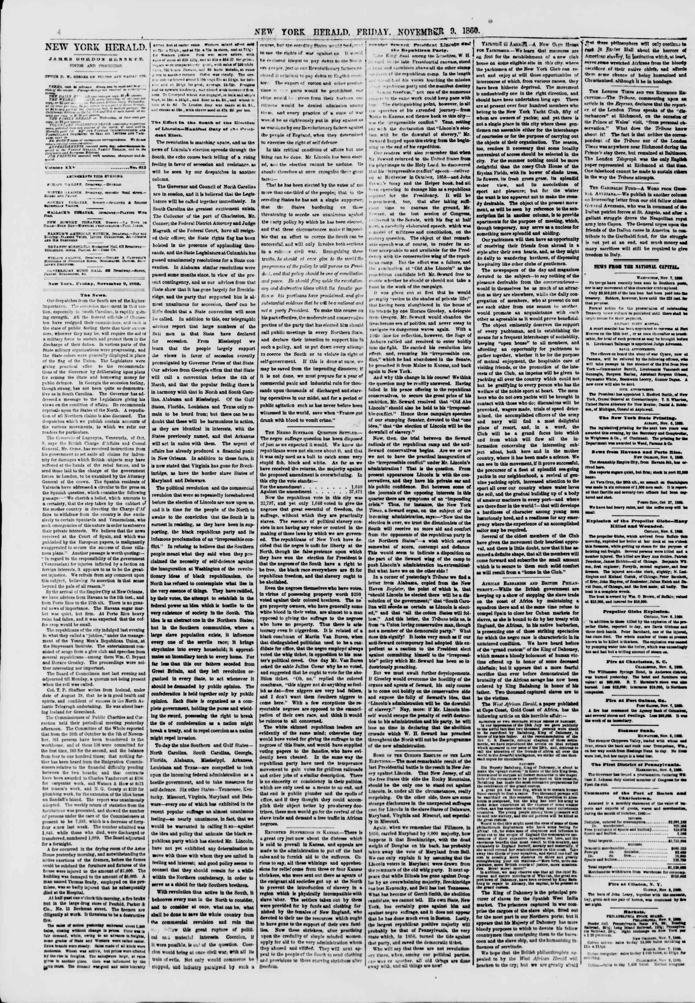 Newspaper of The New York Herald dated November 9, 1860 Page 4