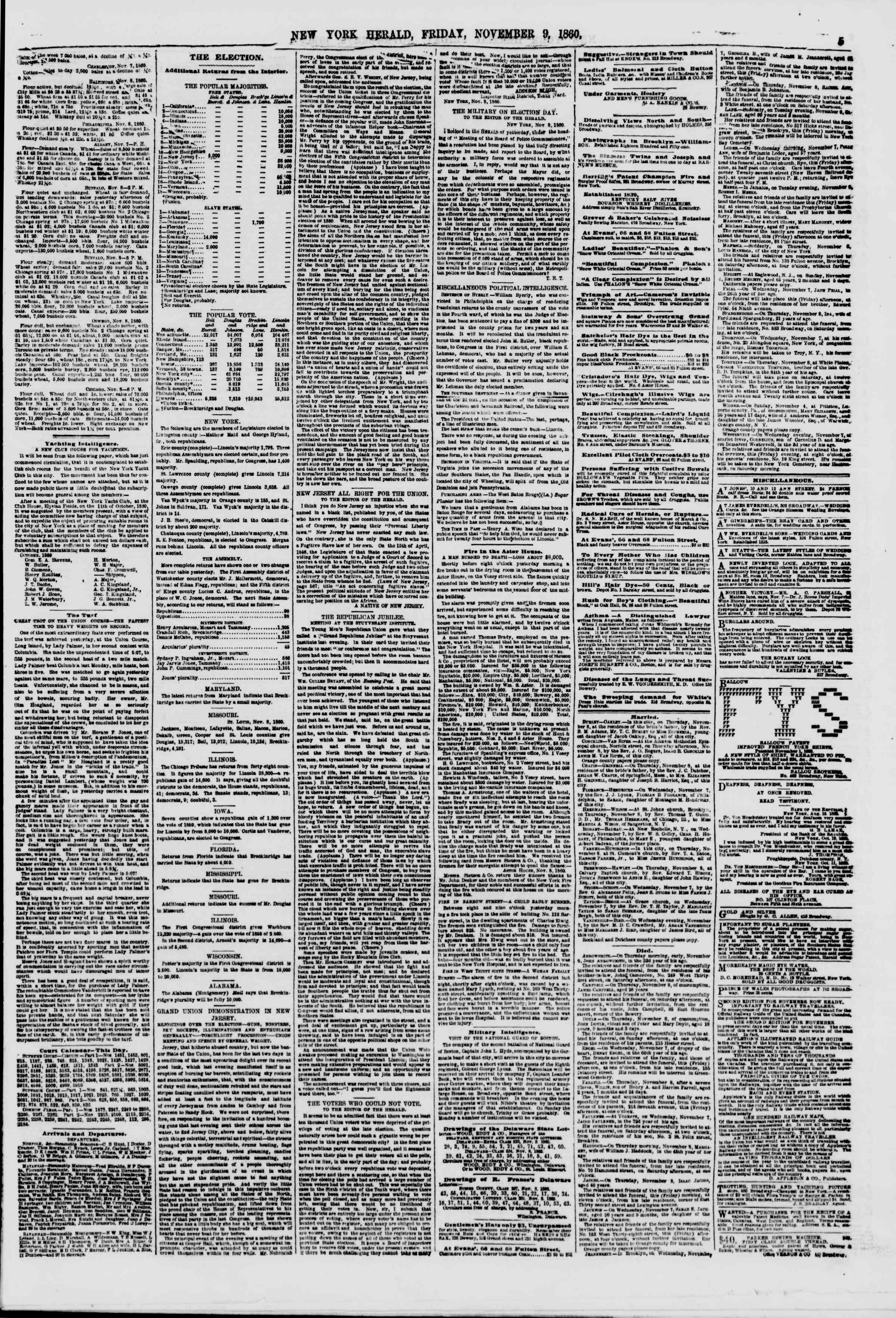 Newspaper of The New York Herald dated November 9, 1860 Page 5