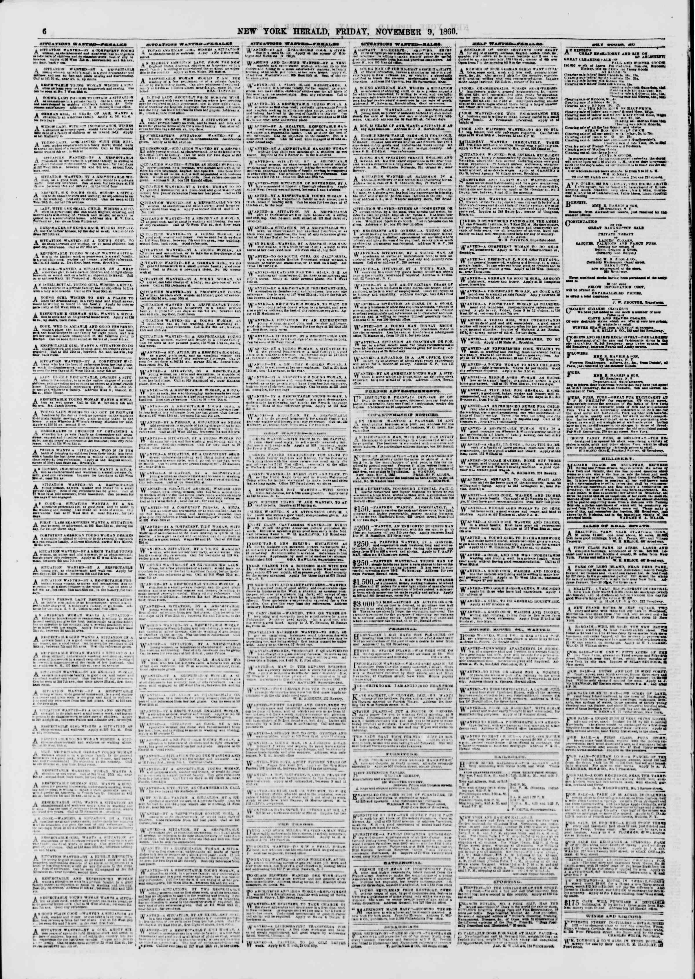 Newspaper of The New York Herald dated November 9, 1860 Page 6