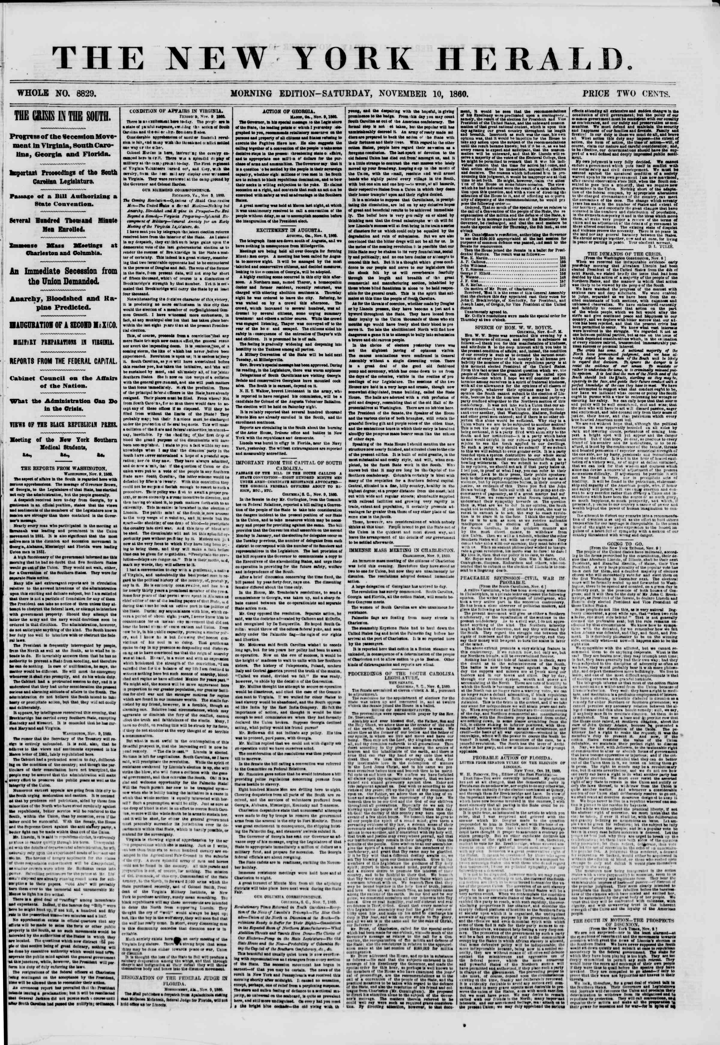Newspaper of The New York Herald dated November 10, 1860 Page 1