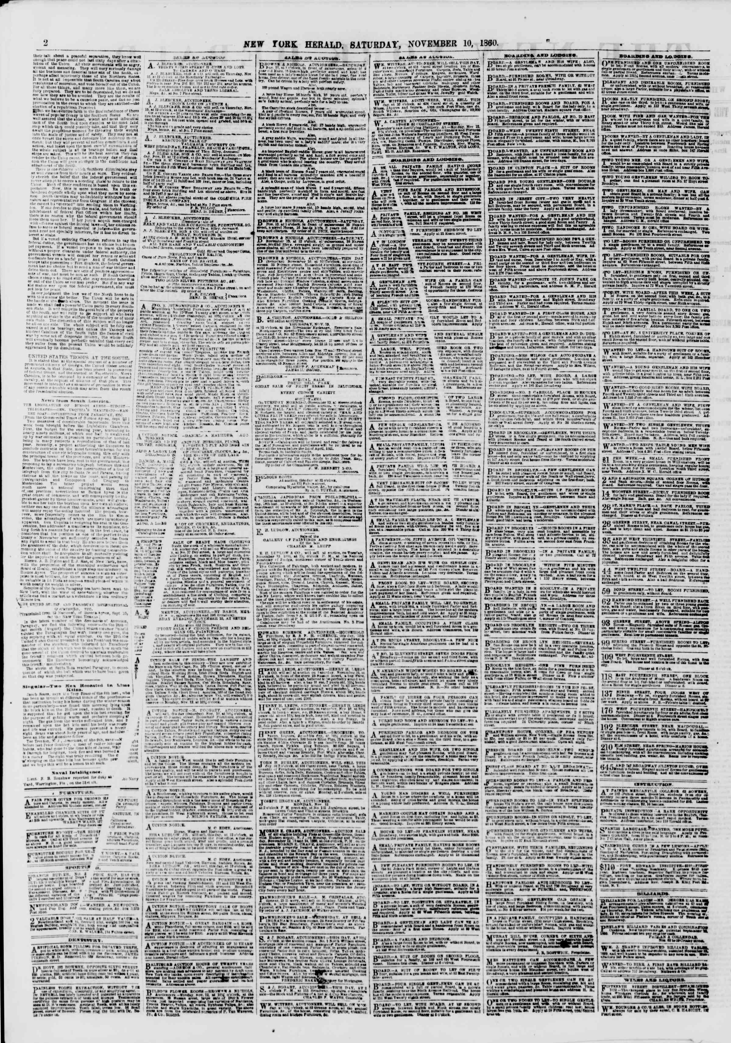 10 Kasım 1860 tarihli The New York Herald Gazetesi Sayfa 2