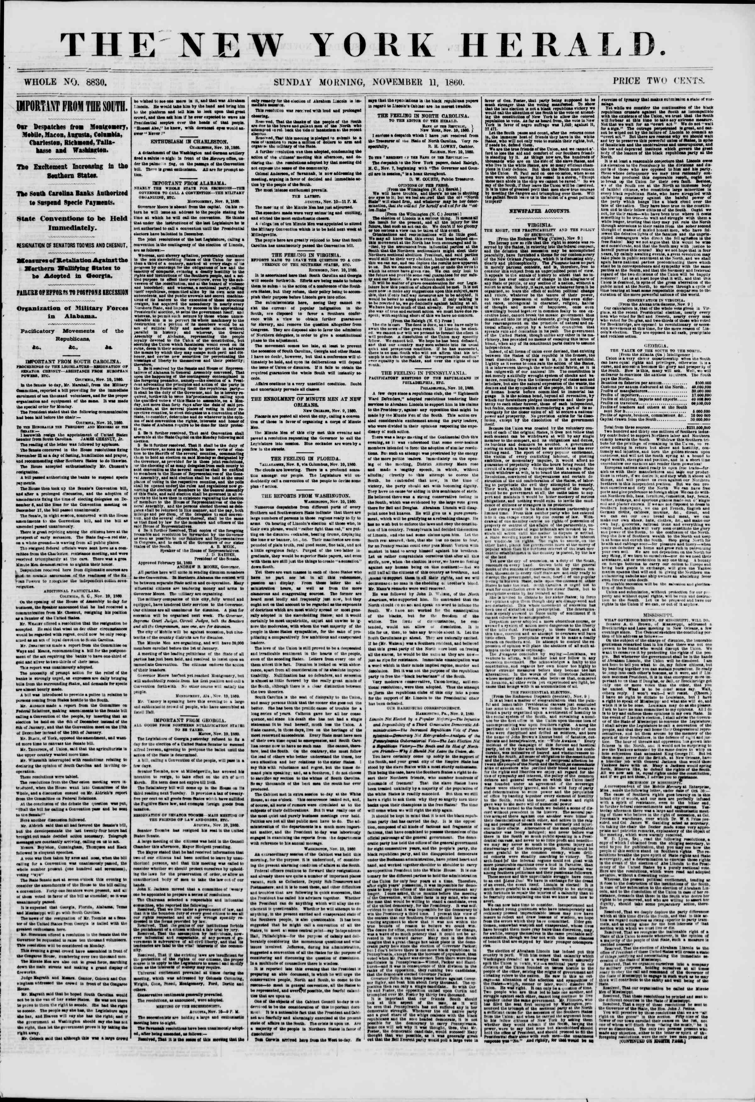 Newspaper of The New York Herald dated November 11, 1860 Page 1